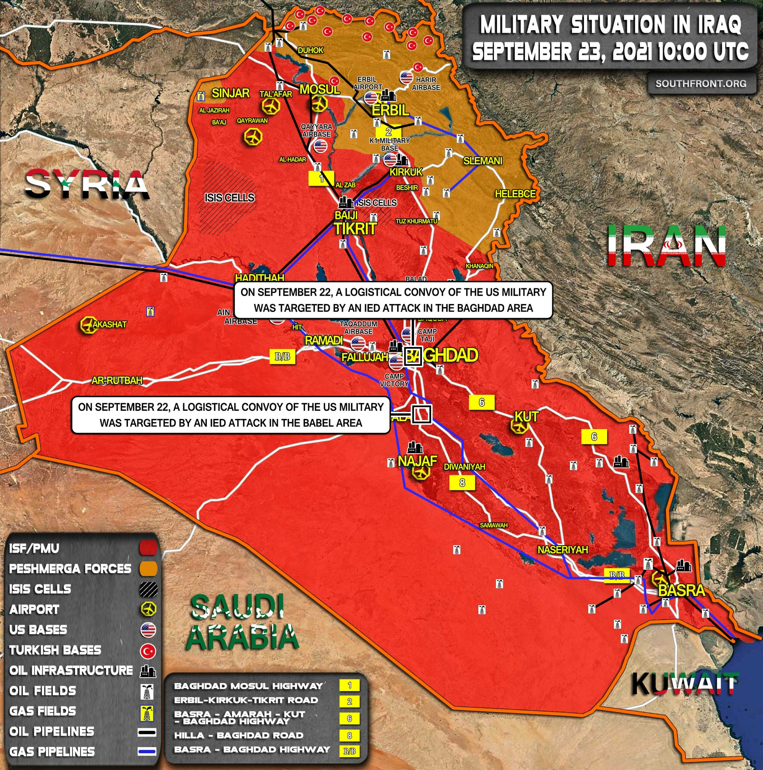 Military Situation In Iraq On September 23, 2021 (Map Update)