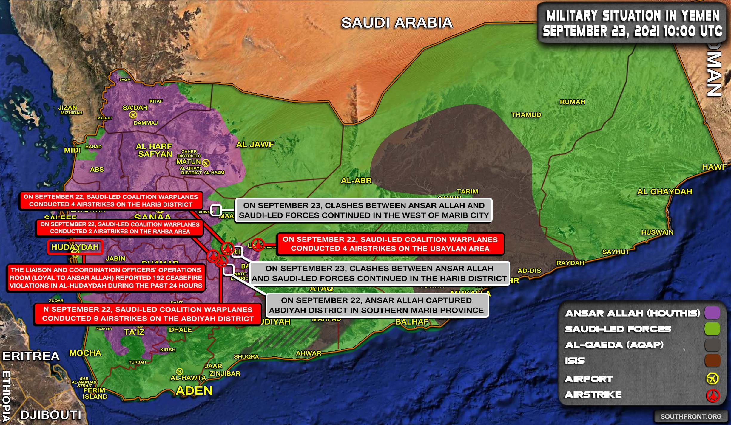 Military Situation In Yemen On September 23, 2021 (Map Update)