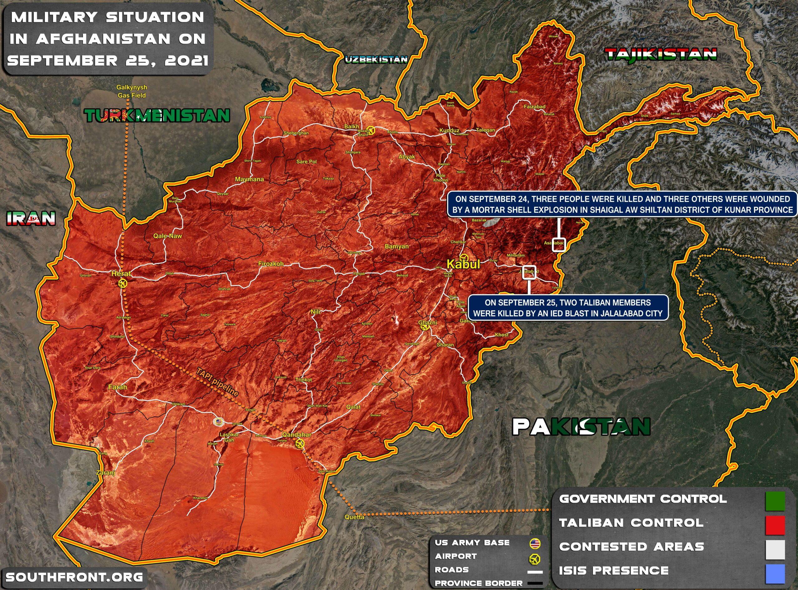 Military Situation In Afghanistan On September 25, 2021 (Map Update)