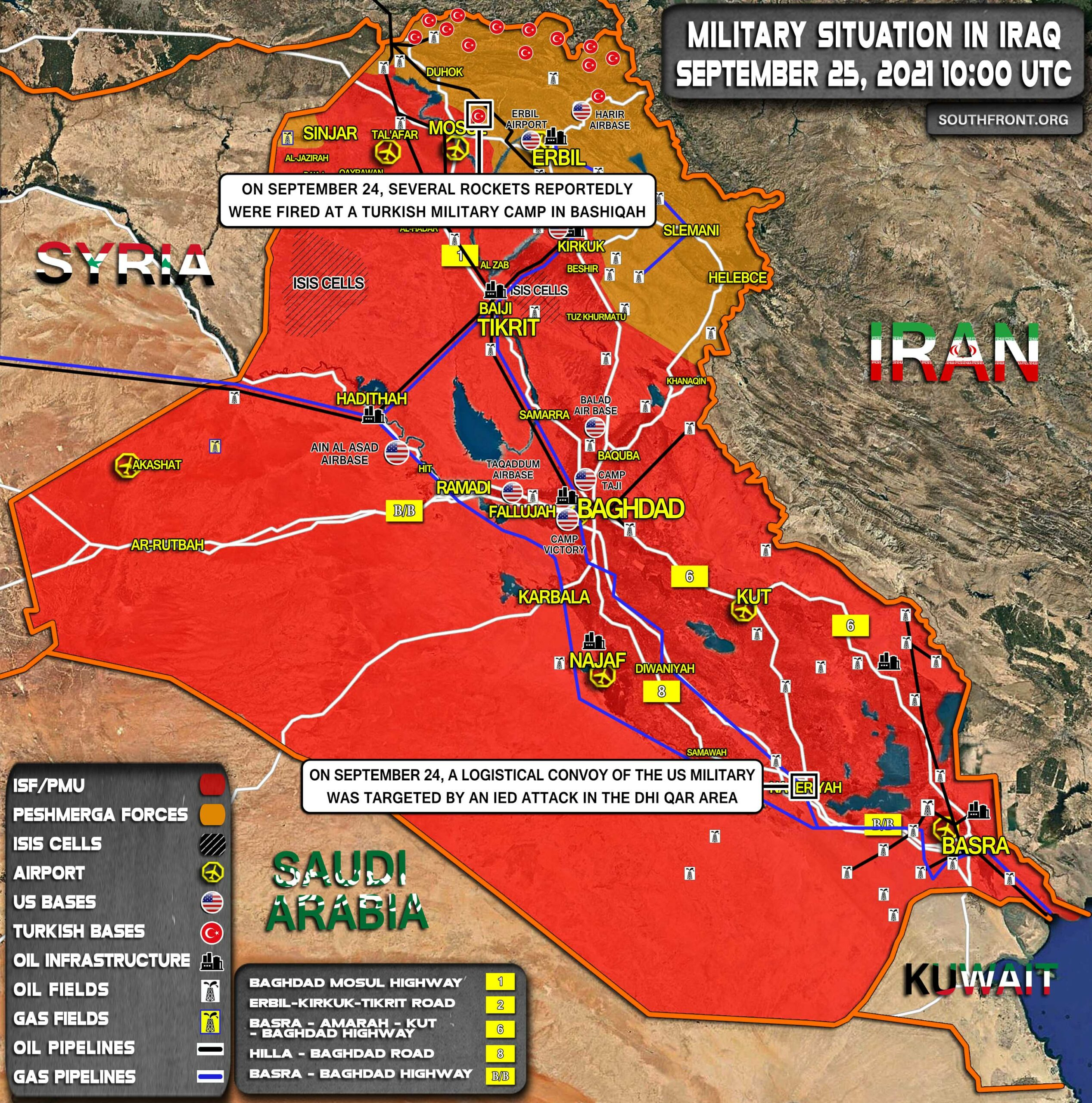 Military Situation In Iraq On September 25, 2021 (Map Update)