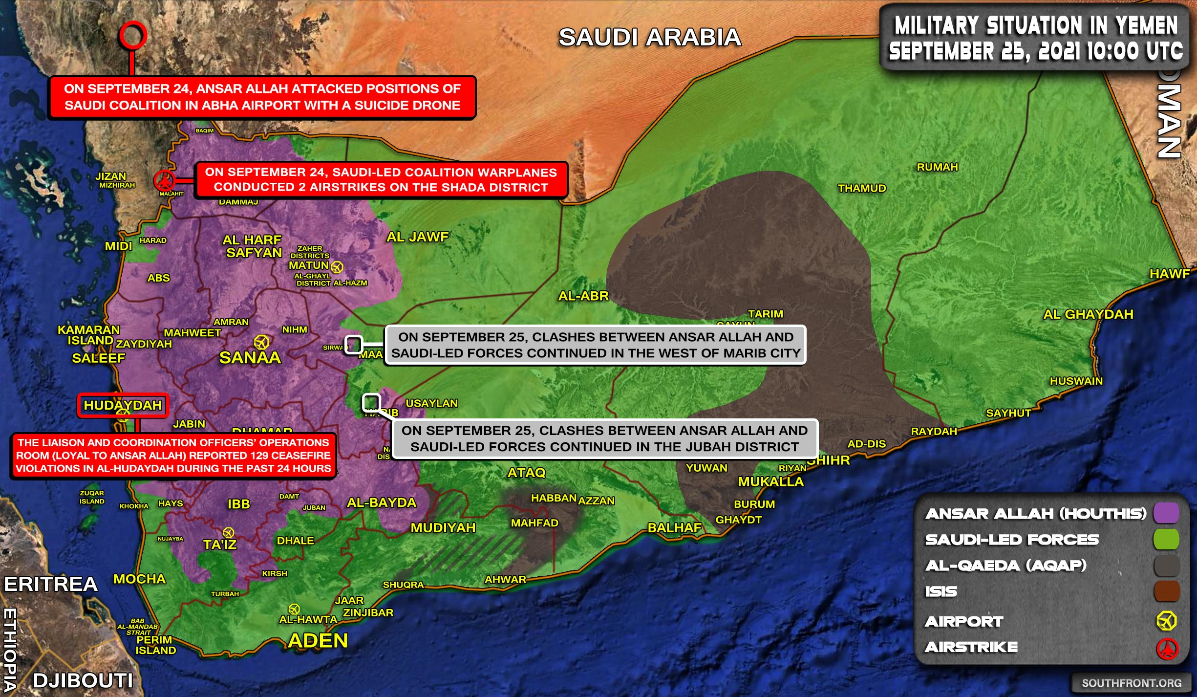 Military Situation In Yemen On September 25, 2021 (Map Update)