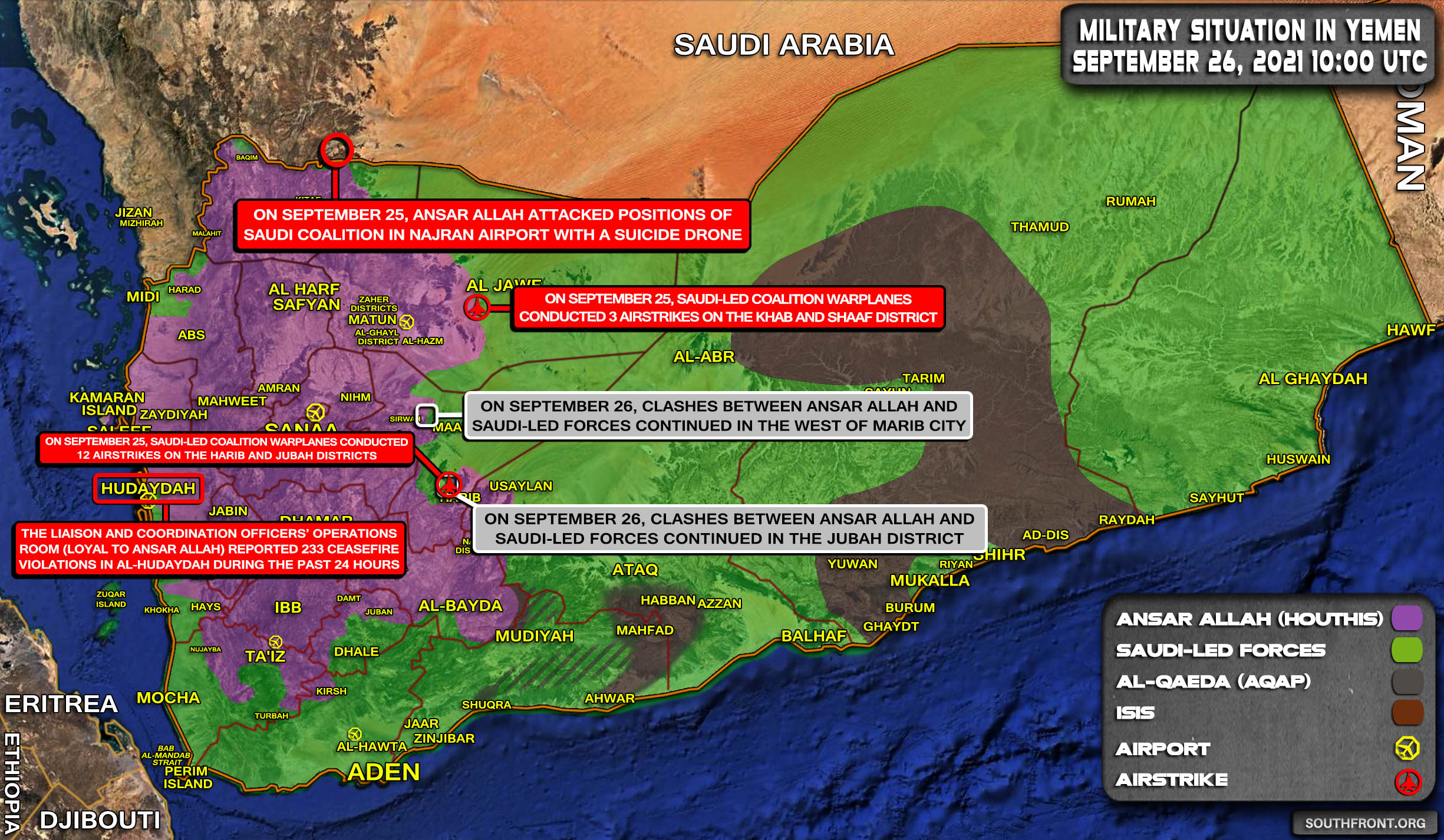 Military Situation In Yemen On September 26, 2021 (Map Update)