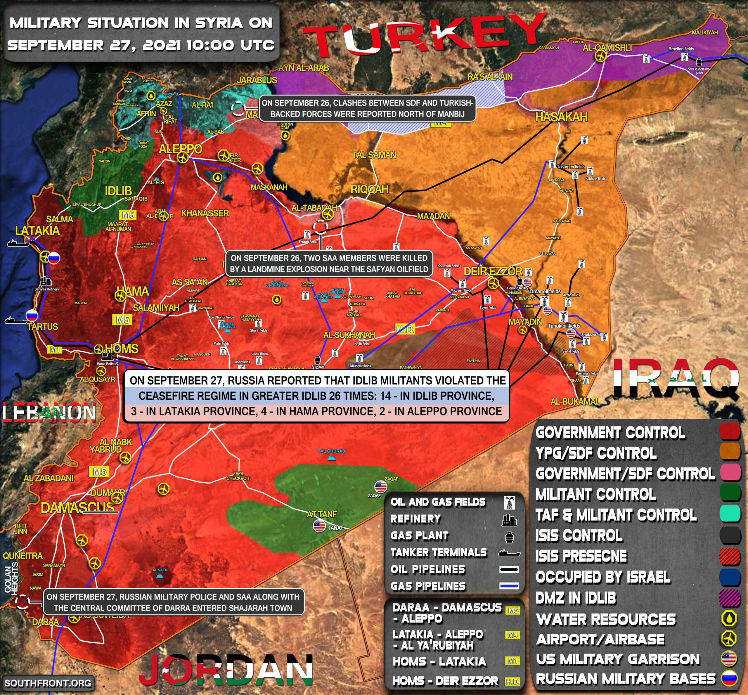 Military Situation In Syria On September 27, 2021 (Map Update)
