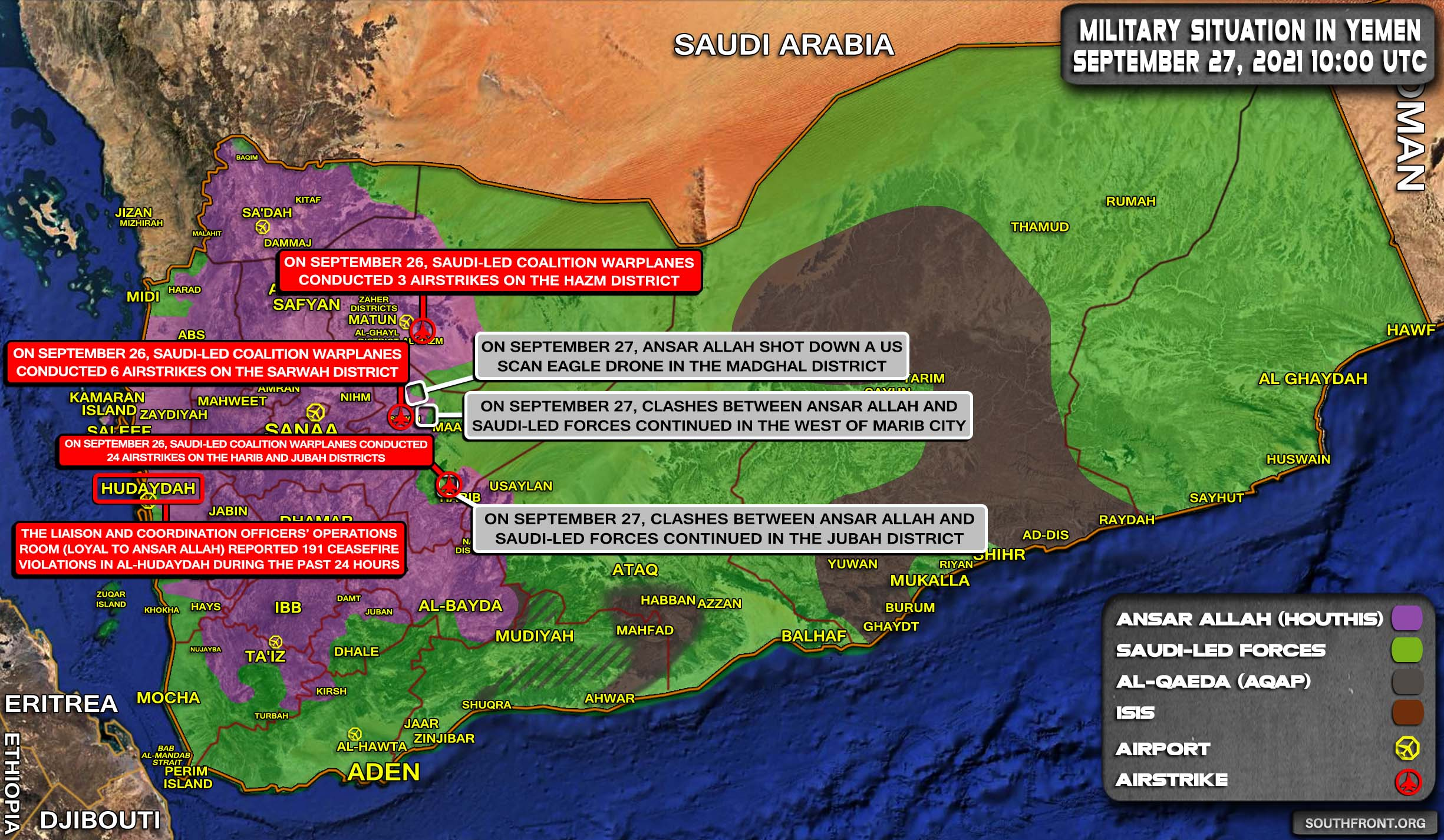 Military Situation In Yemen On September 27, 2021 (Map Update)