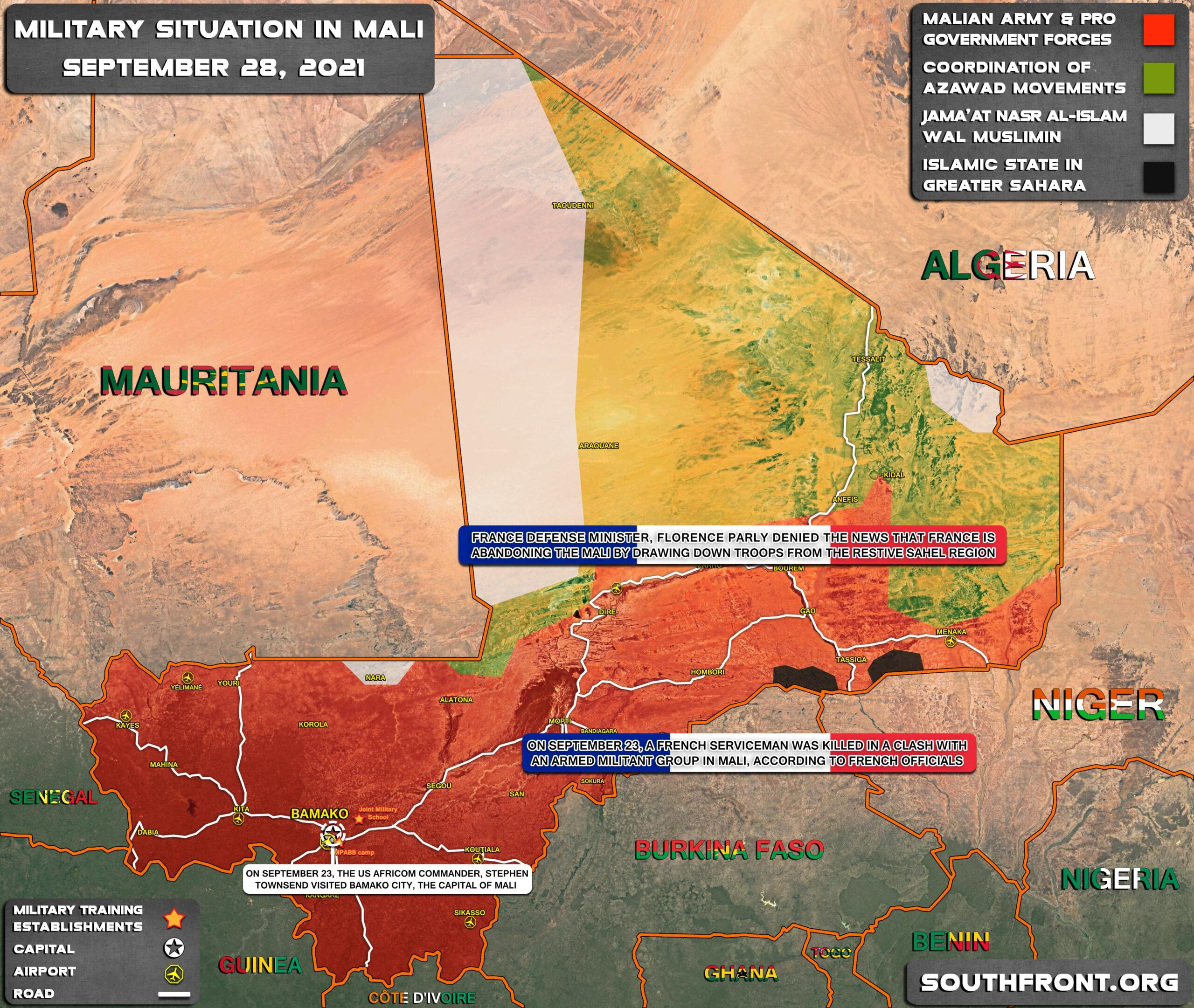 Military Situation In Mali On September 28, 2021 (Map Update)