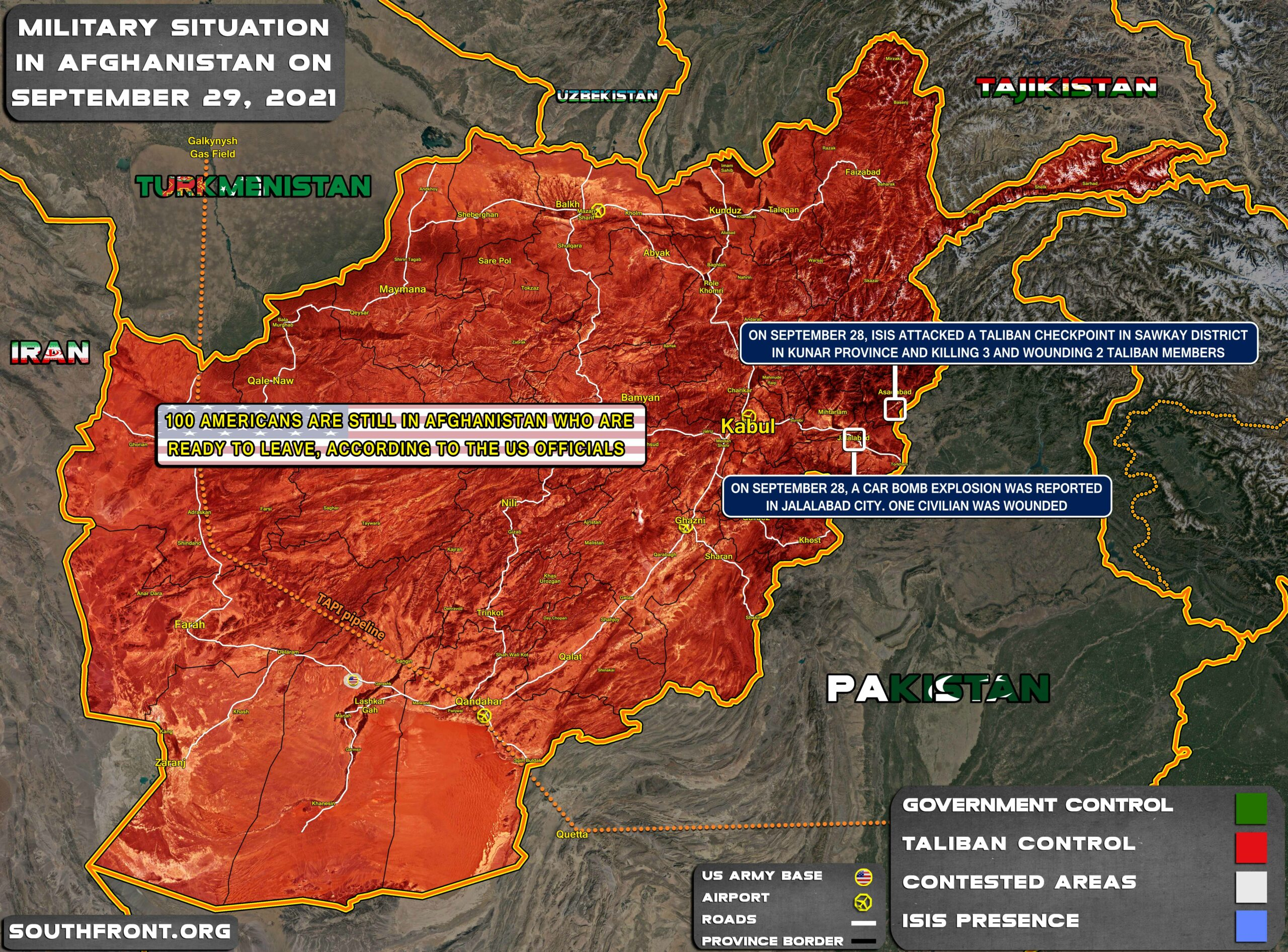 Military Situation In Afghanistan On September 29, 2021 (Map Update)