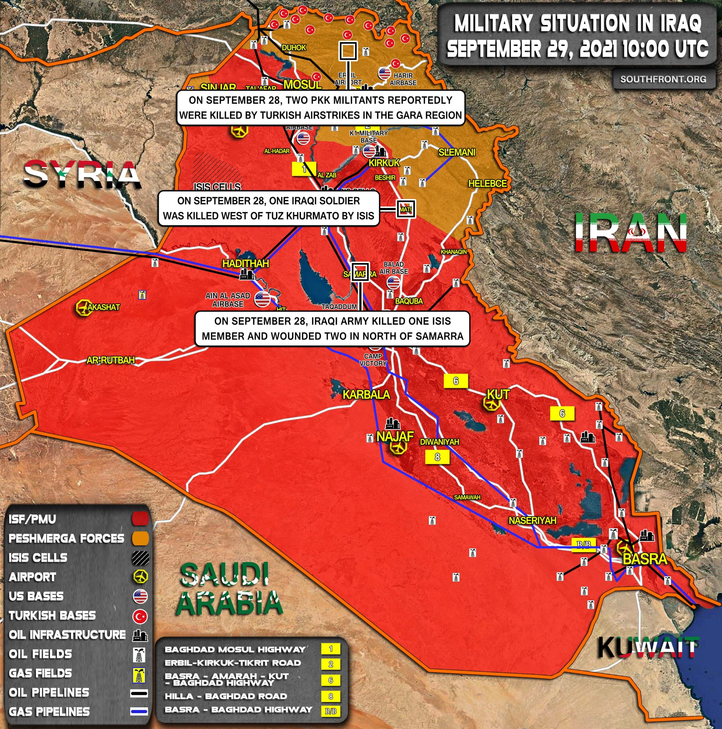 Military Situation In Iraq On September 29, 2021 (Map Update)