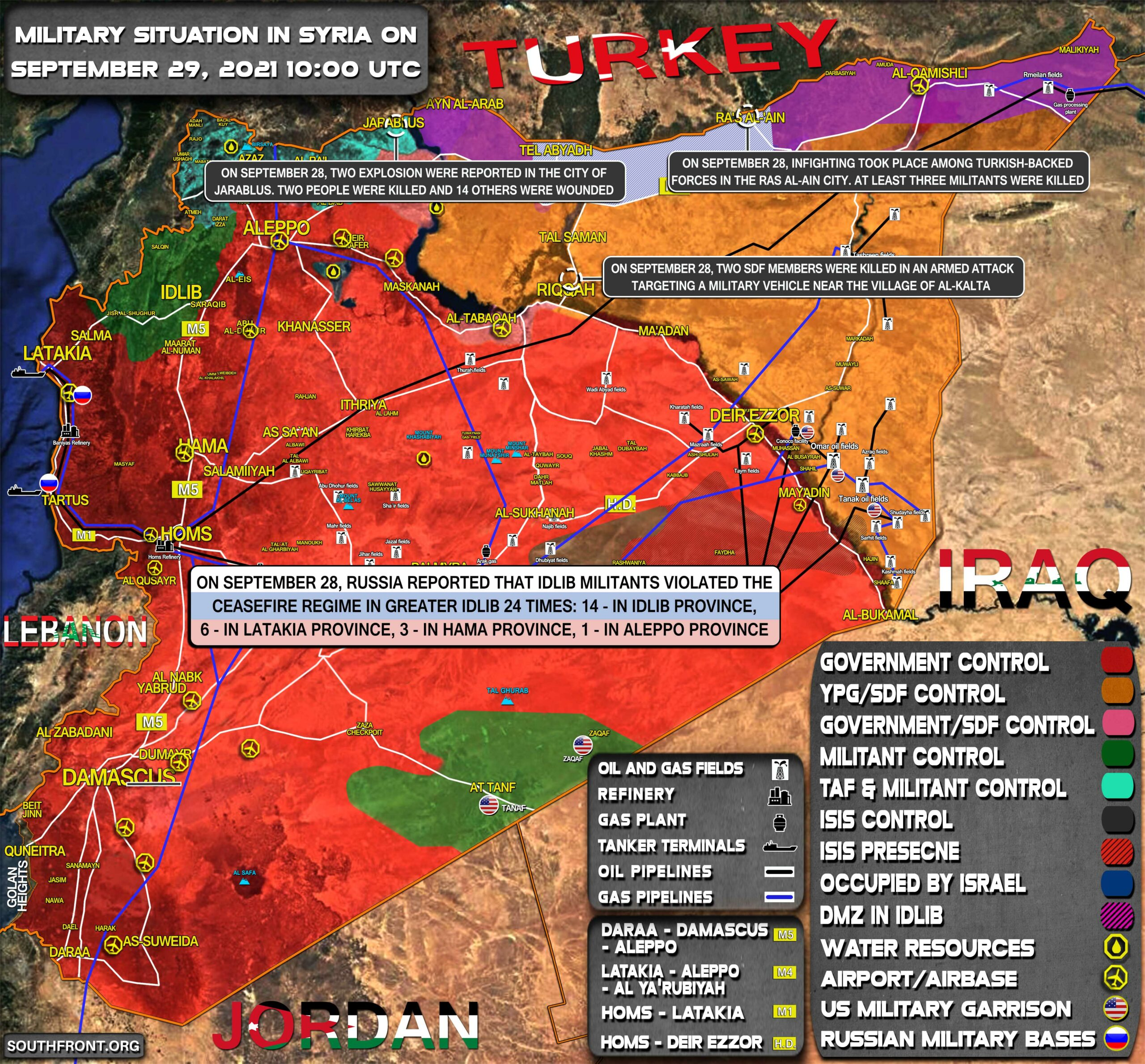Military Situation In Syria On September 29, 2021 (Map Update)