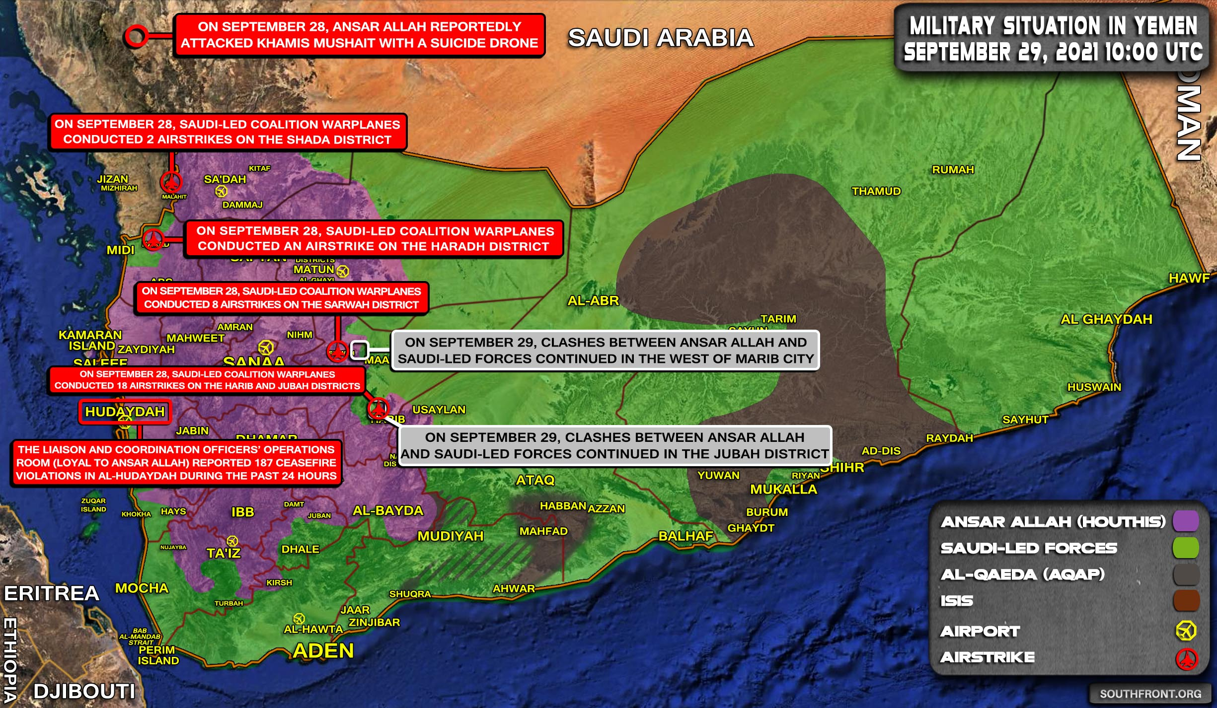 Military Situation In Yemen On September 29, 2021 (Map Update)