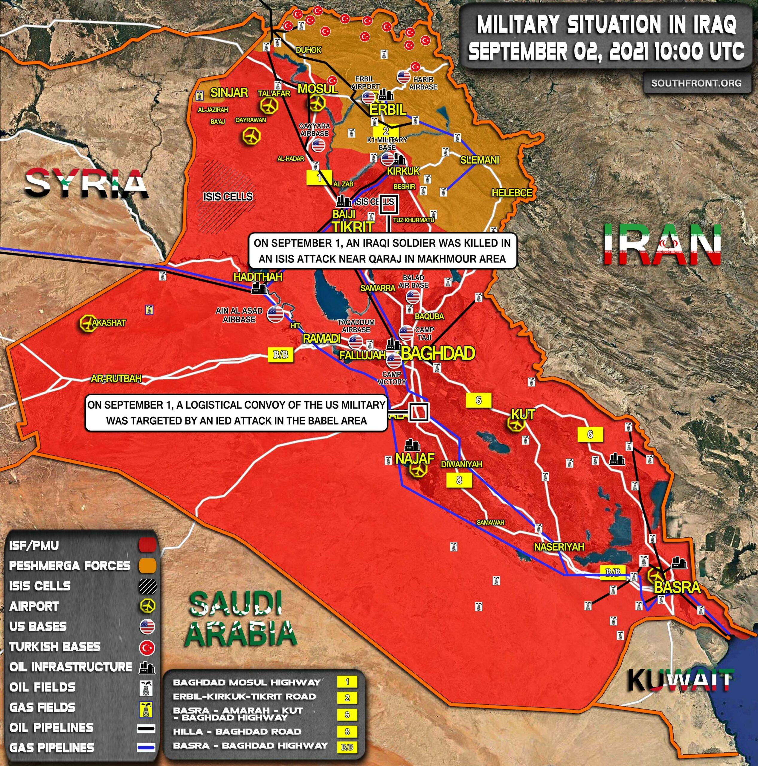 Military Situation In Iraq On September 2, 2021 (Map Update)