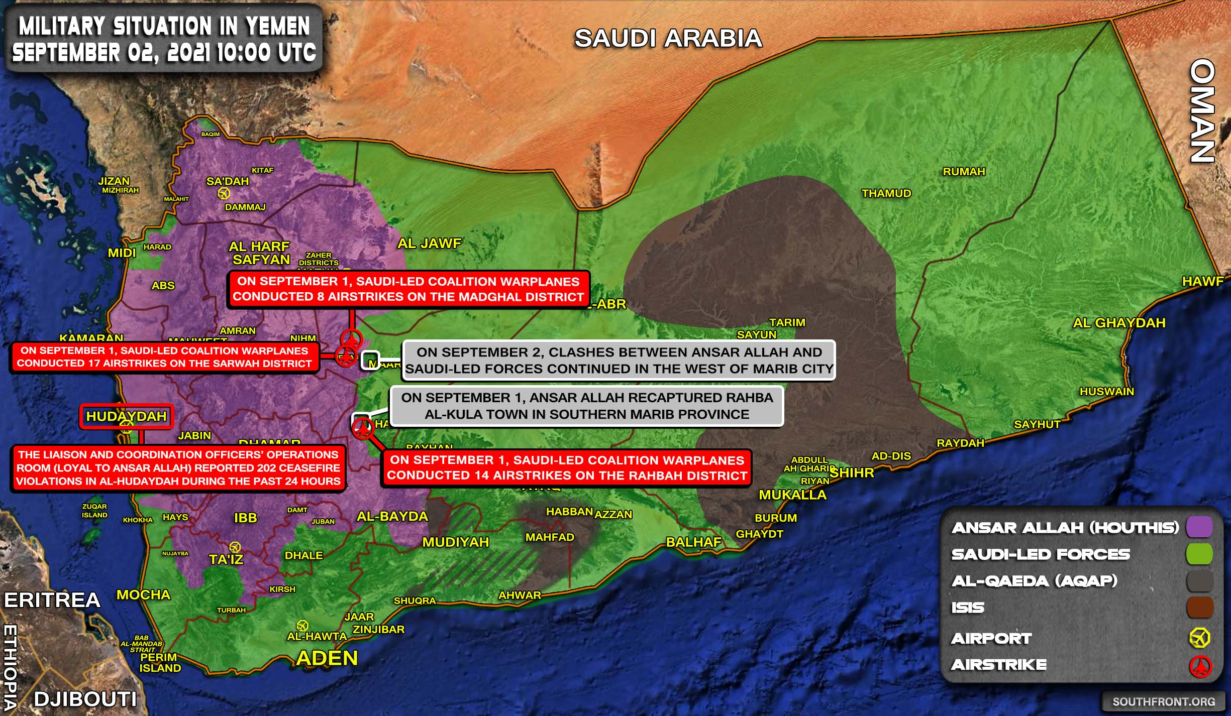 Military Situation In Yemen On September 2, 2021 (Map Update)