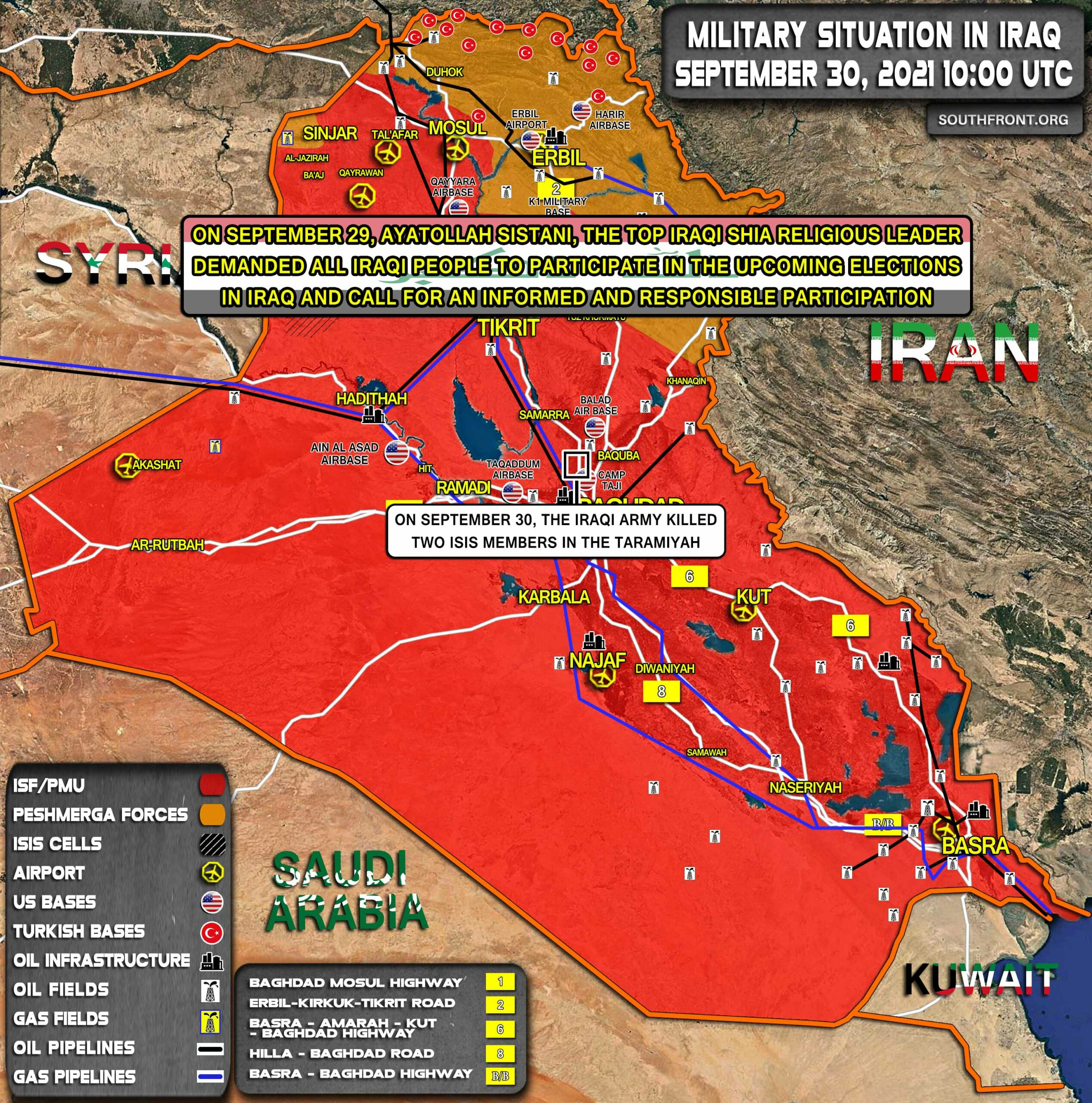 Military Situation In Iraq On September 30, 2021 (Map Update)