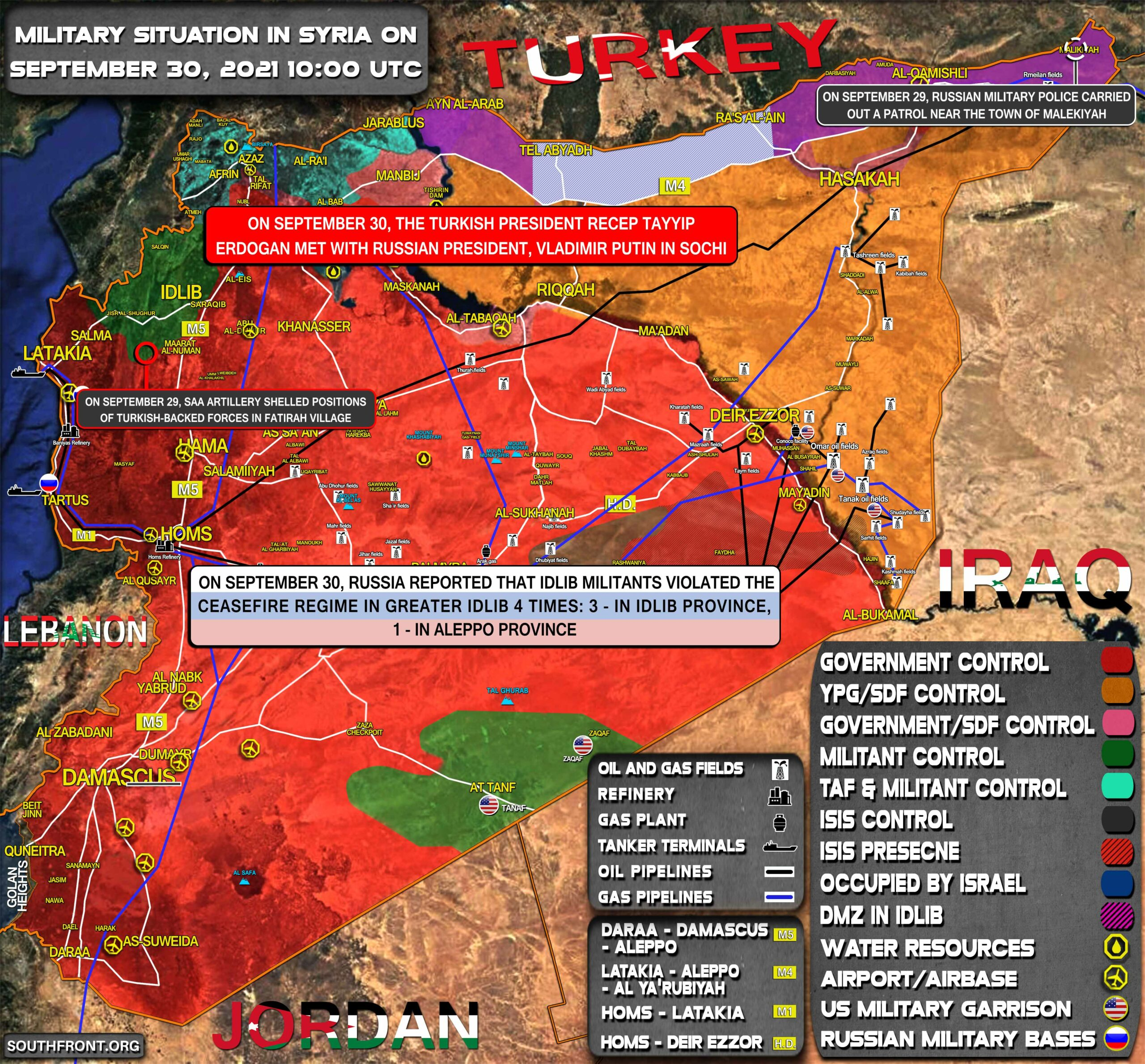 Military Situation In Syria On September 30, 2021 (Map Update)