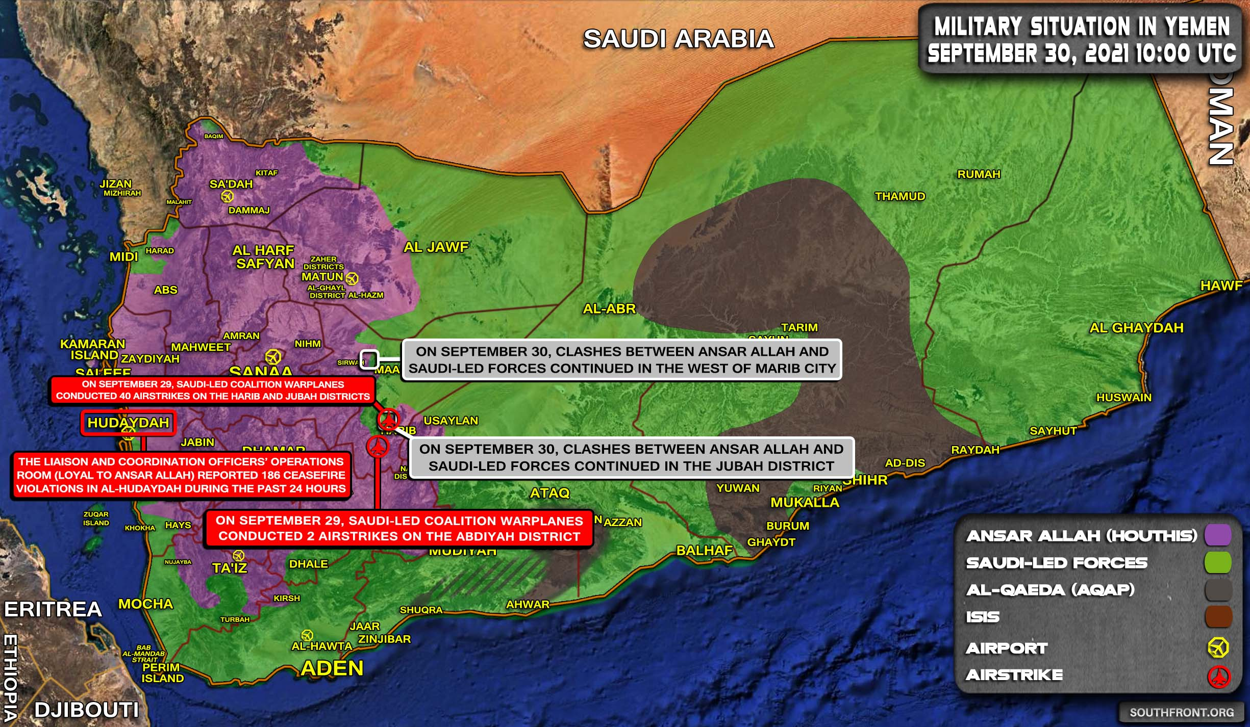 Military Situation In Yemen On September 30, 2021 (Map Update)