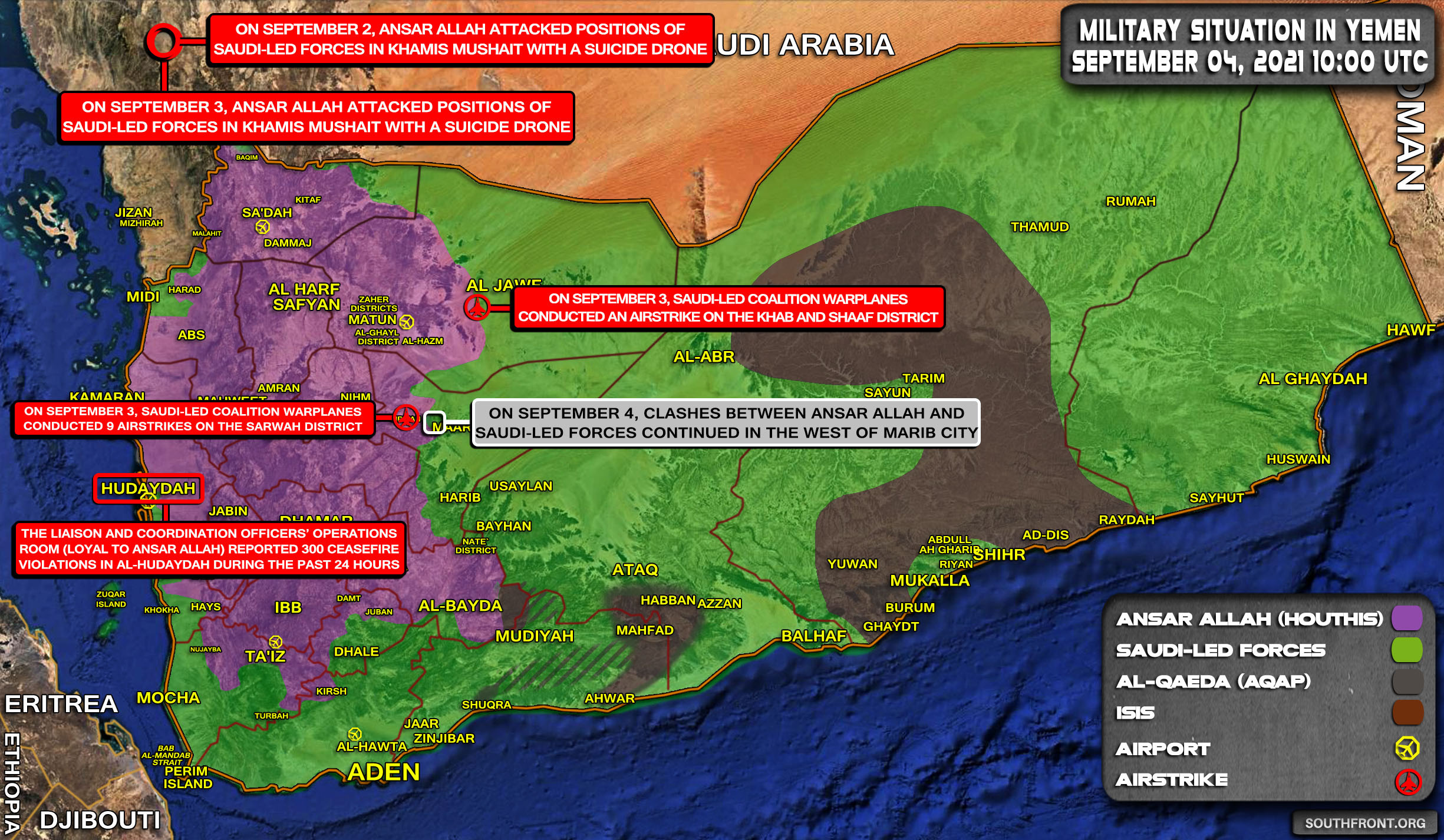 Military Situation In Yemen On September 4, 2021 (Map Update)