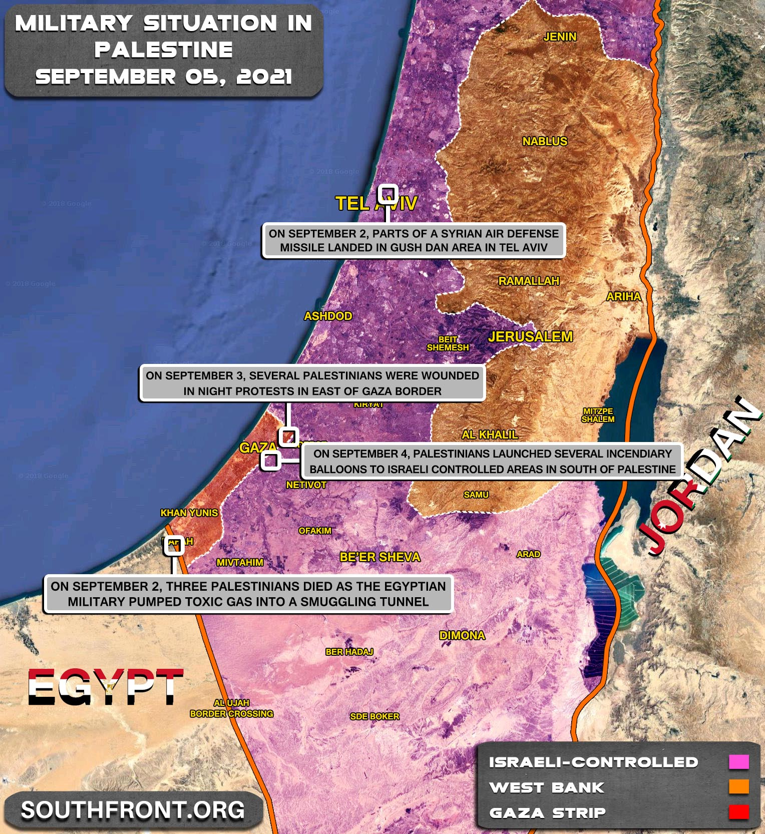 Military Situation In The West Bank and Gaza Strip On September 5, 2021 (Map Update)