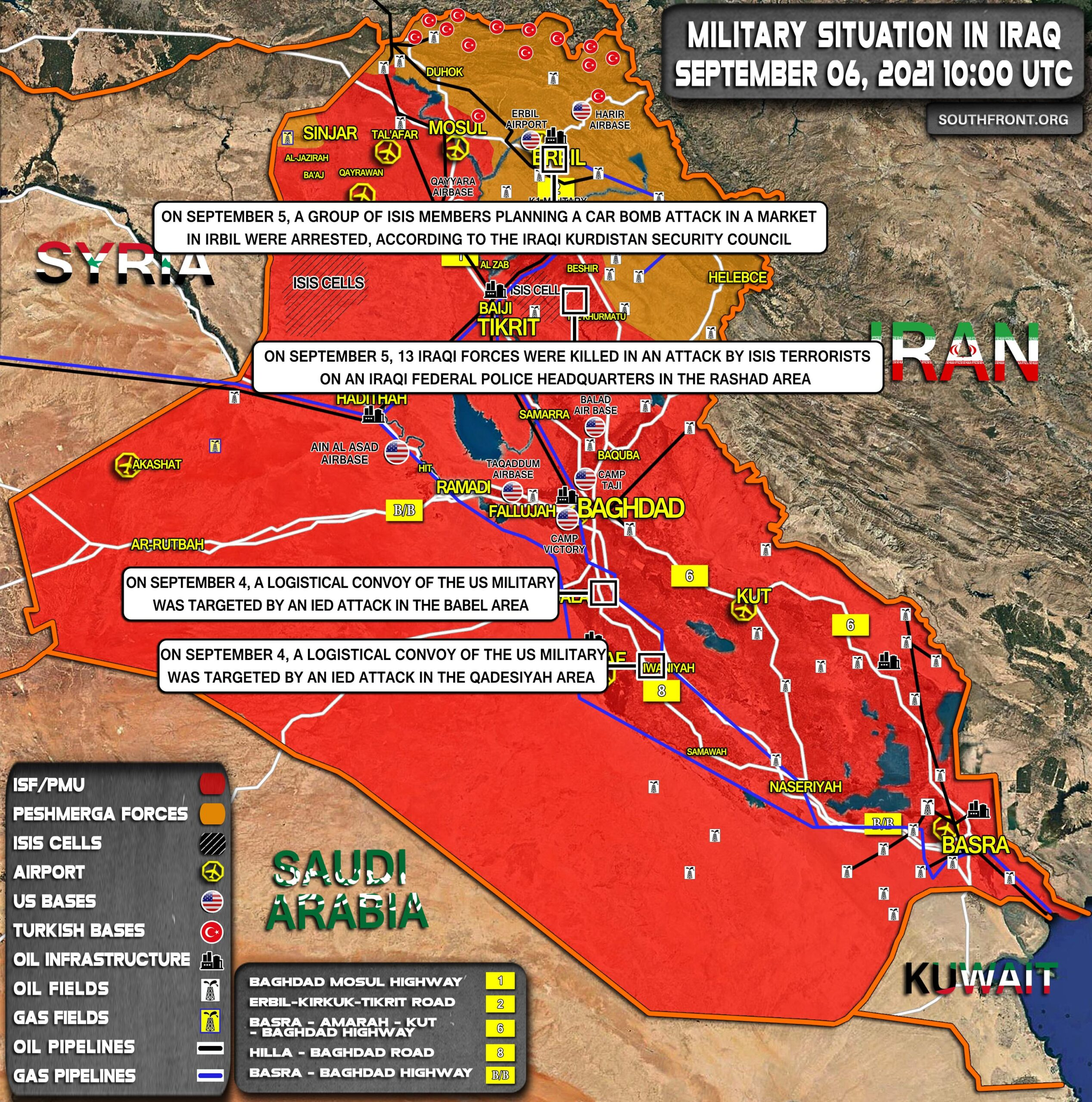 Military Situation In Iraq On September 6, 2021 (Map Update)