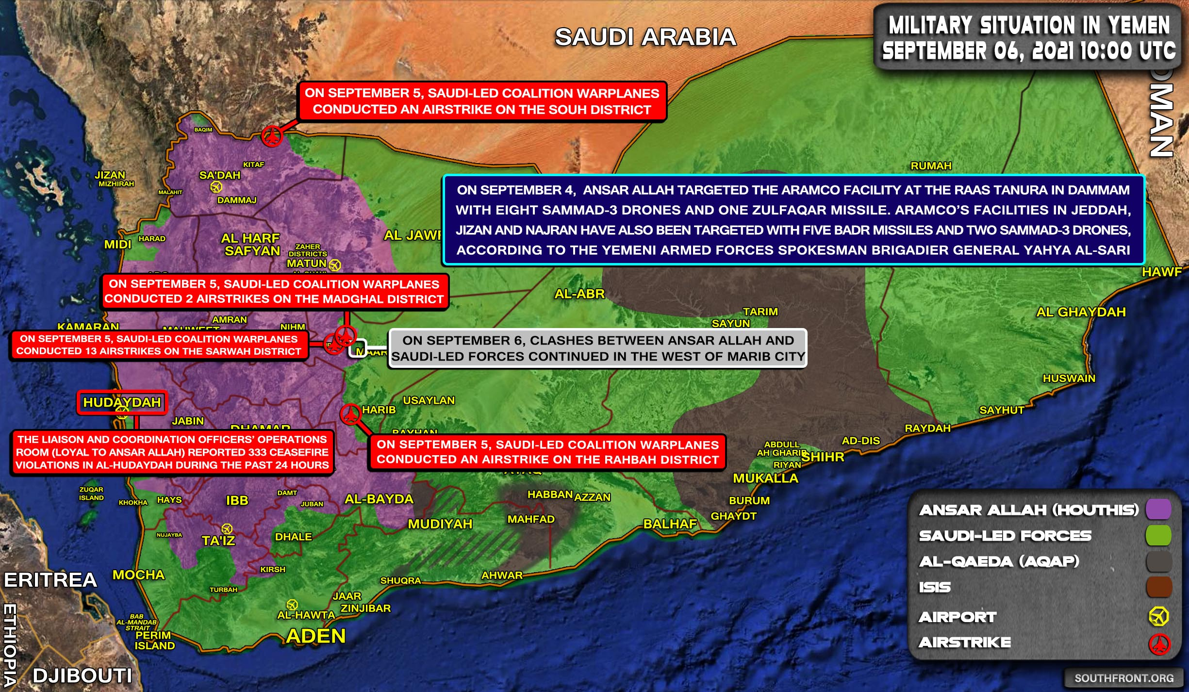 Military Situation In Yemen On September 6, 2021 (Map Update)