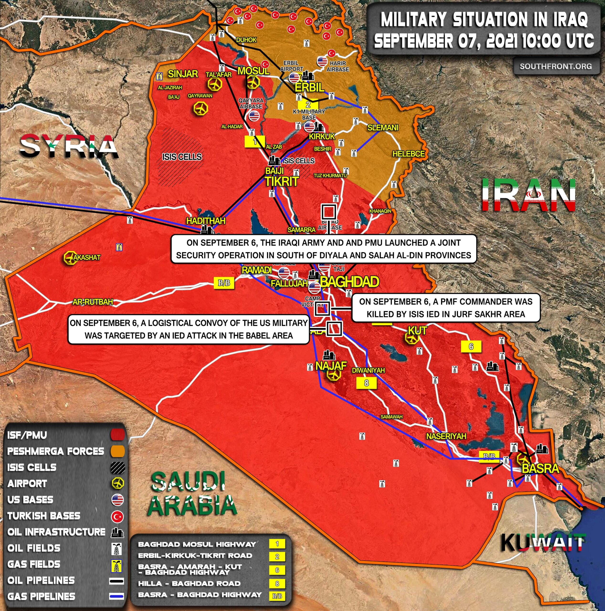 Military Situation In Iraq On September 7, 2021 (Map Update)