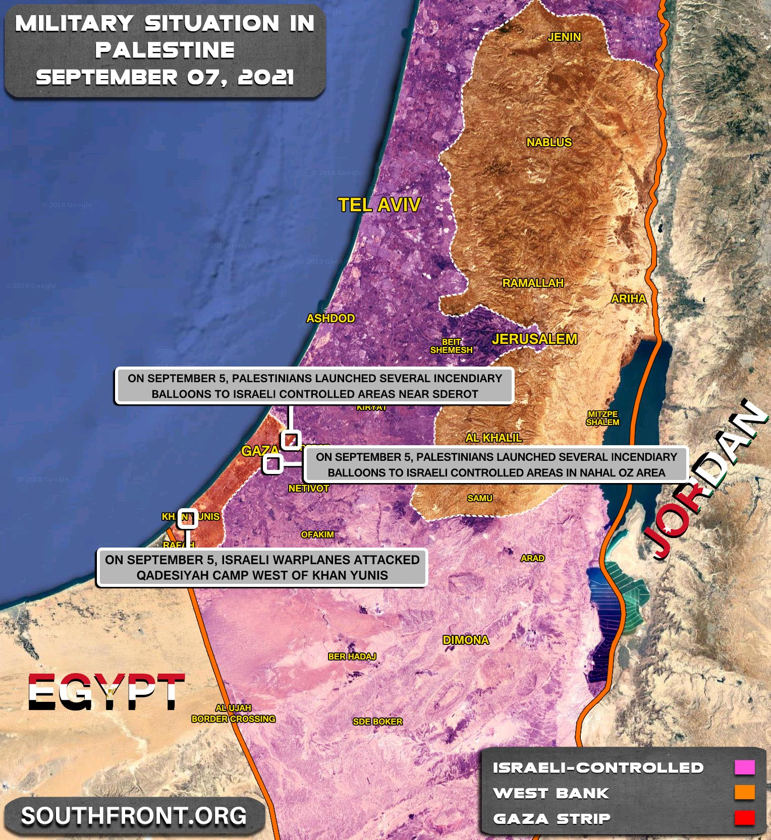 Military Situation In The West Bank and Gaza Strip On September 7, 2021 (Map Update)