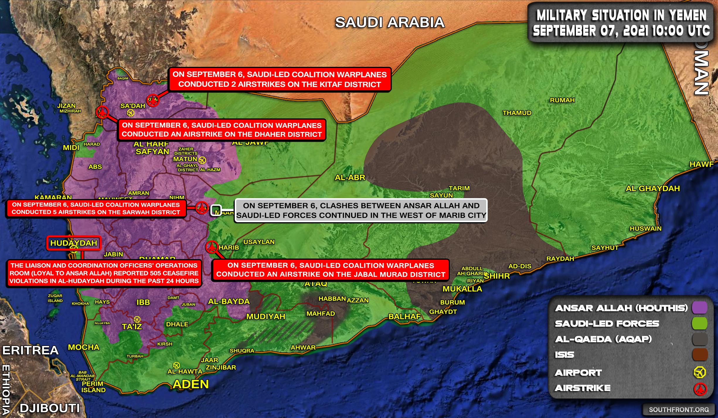 Military Situation In Yemen On September 7, 2021 (Map Update)