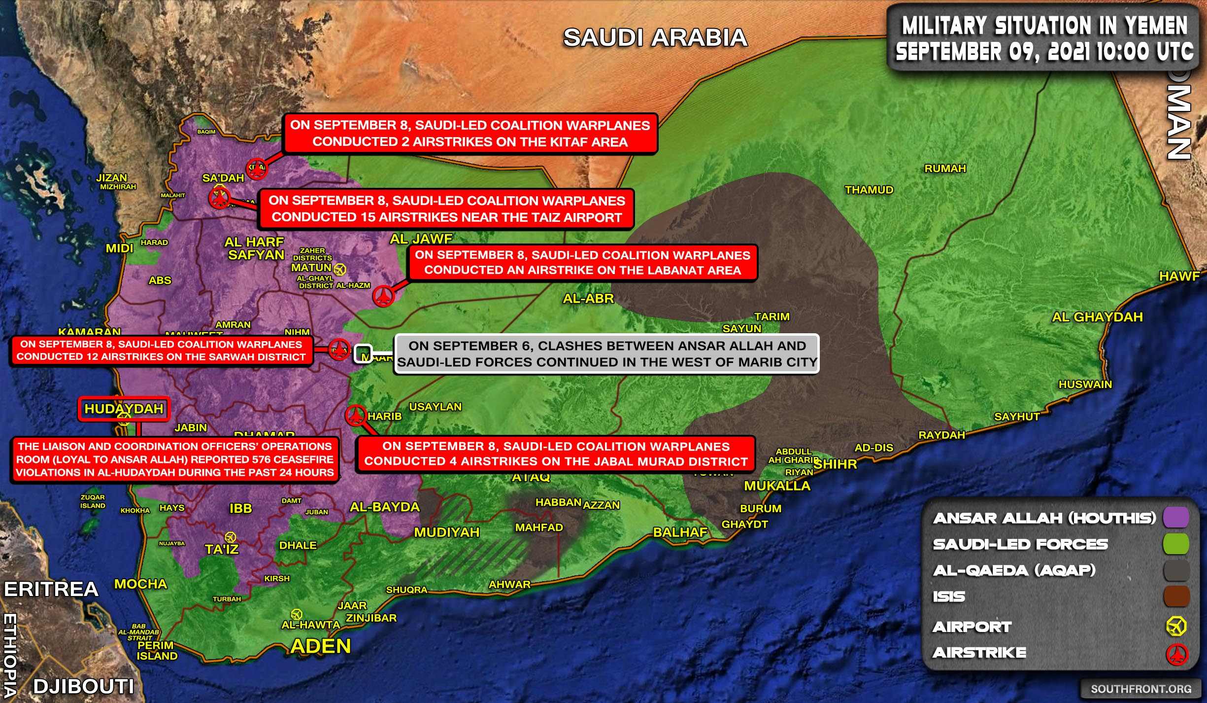 Military Situation In Yemen On September 9, 2021 (Map Update)