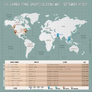 Locations Of US Carrier Strike Groups – September 14, 2021