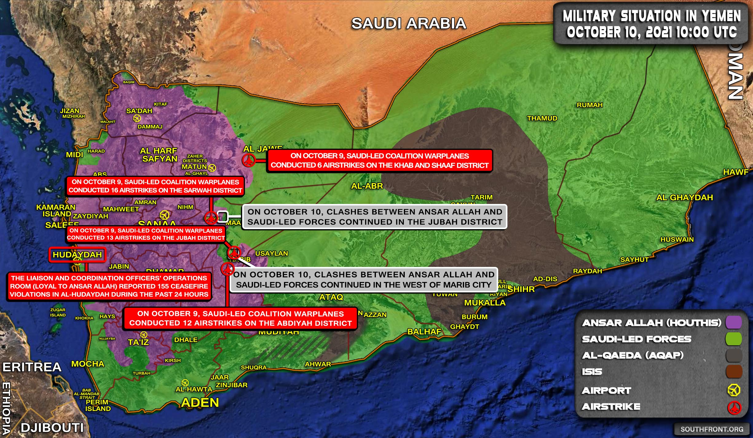Military Situation In Yemen On October 10, 2021 (Map Update)