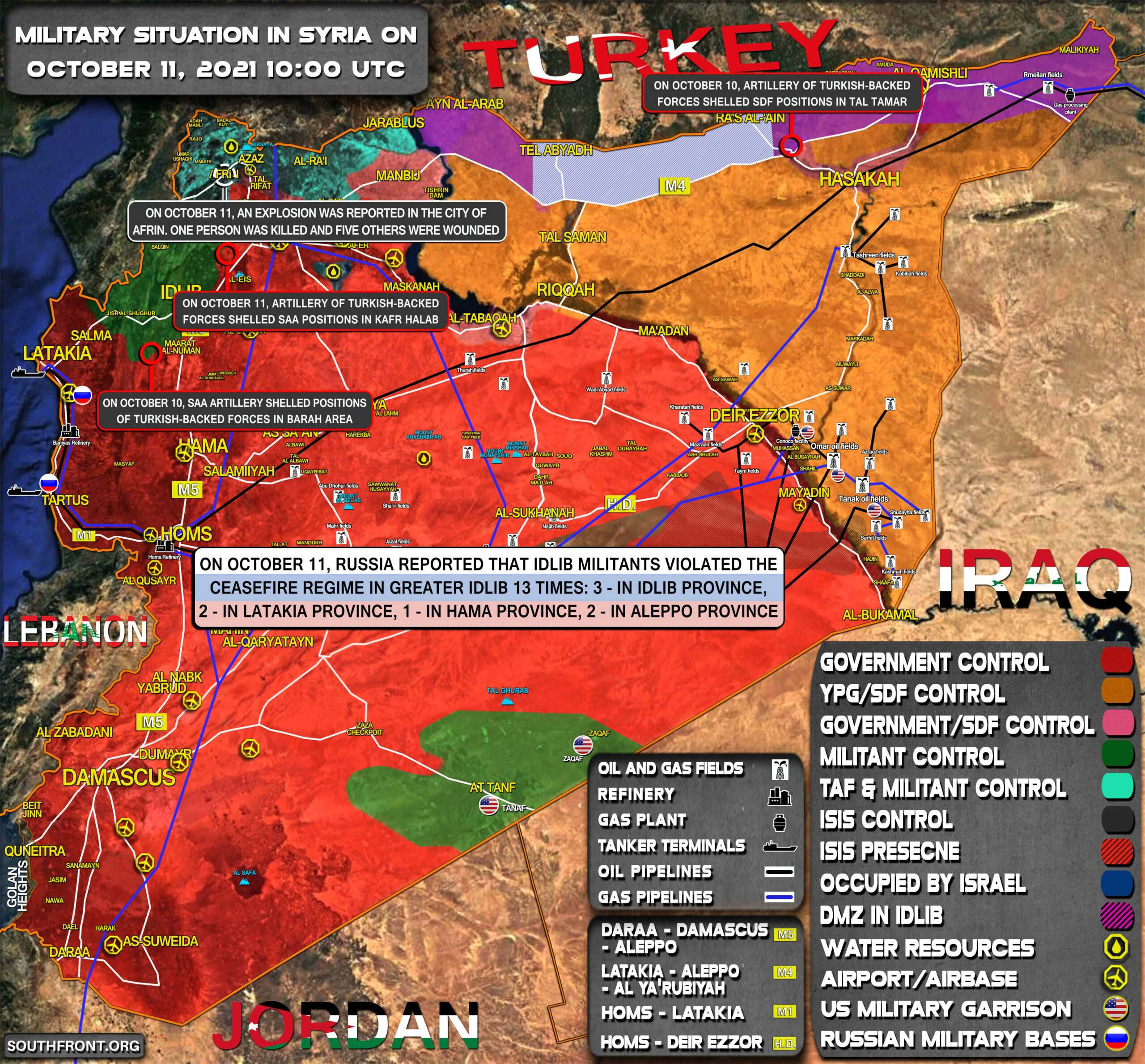 Military Situation In Syria On October 11, 2021 (Map Update)