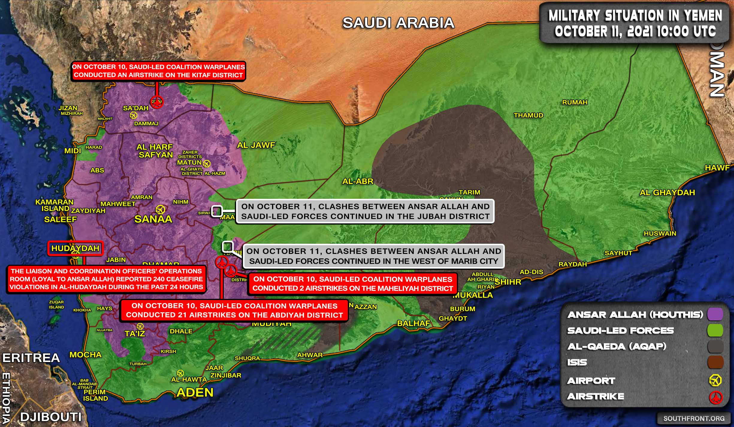 Military Situation In Yemen On October 11, 2021 (Map Update)
