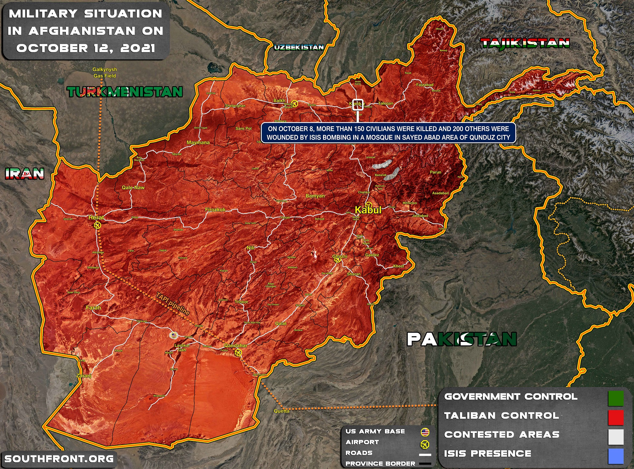 Military Situation In Afghanistan On October 12, 2021 (Map Update)