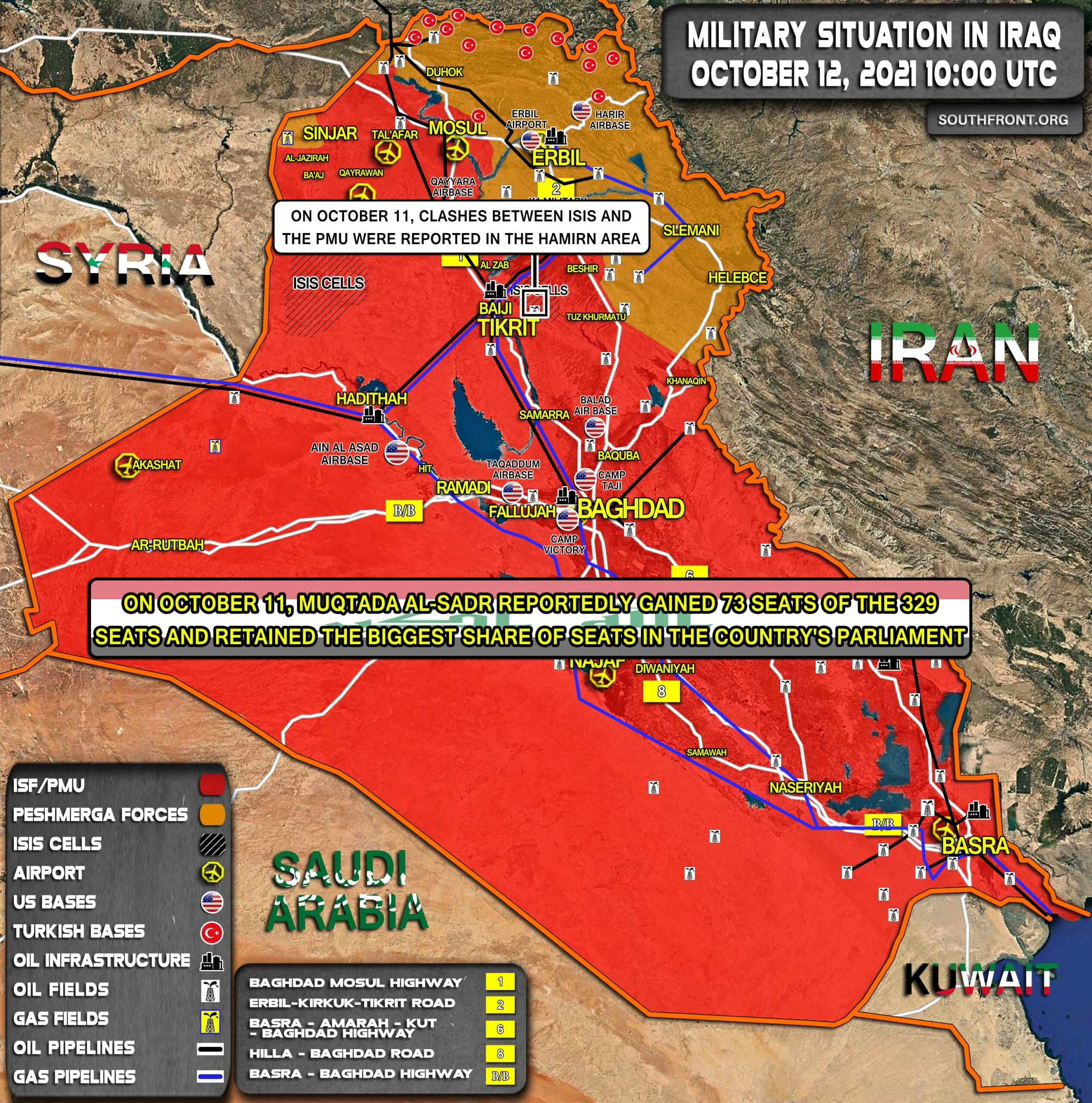 Military Situation In Iraq On October 12, 2021 (Map Update)