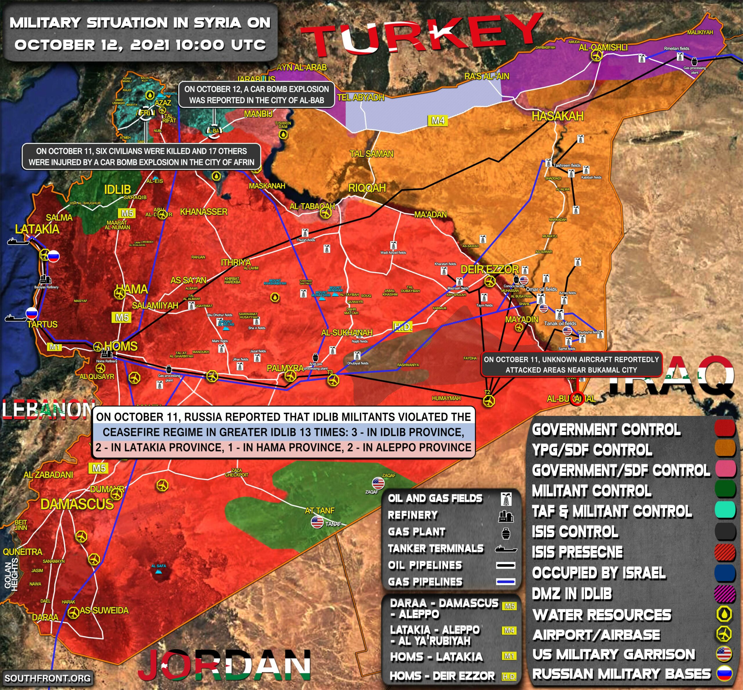 Military Situation In Syria On October 12, 2021 (Map Update)