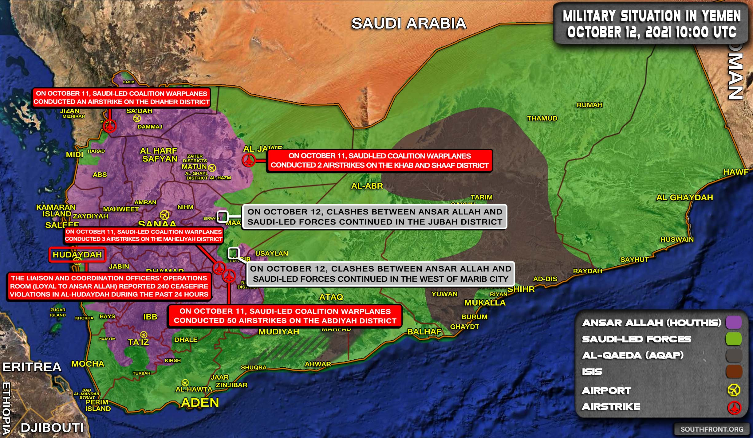 Military Situation In Yemen On October 12, 2021 (Map Update)