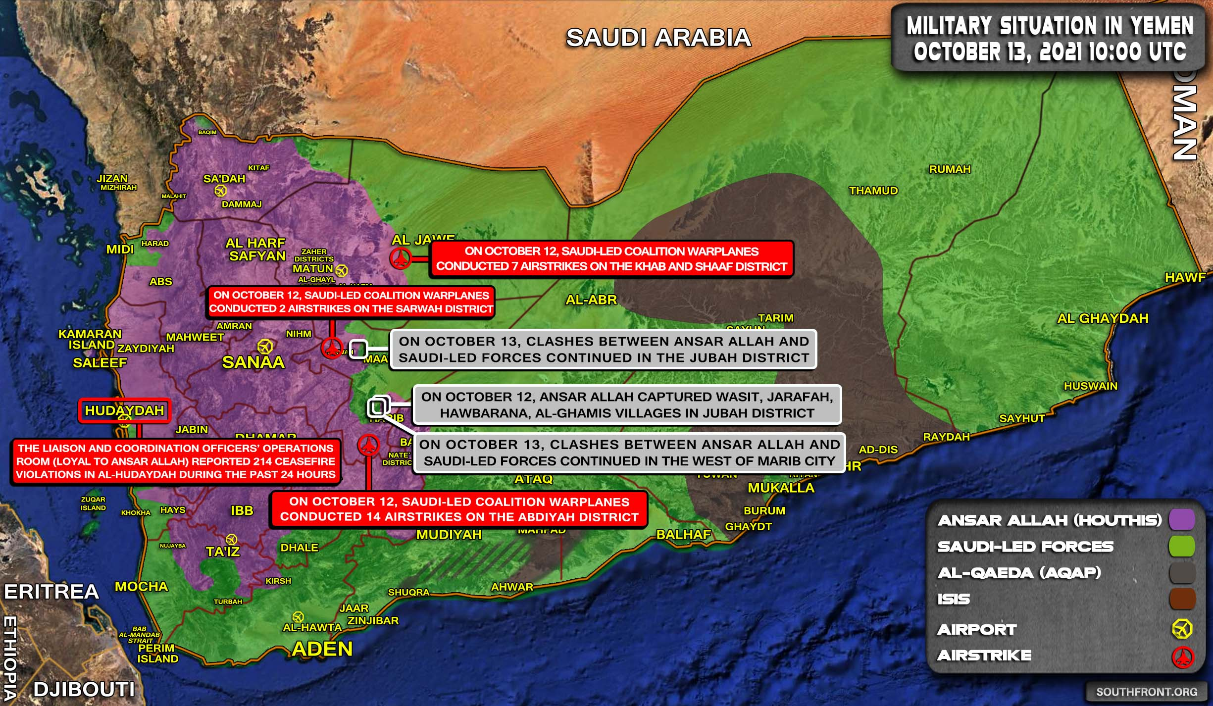 Military Situation In Yemen On October 13, 2021 (Map Update)