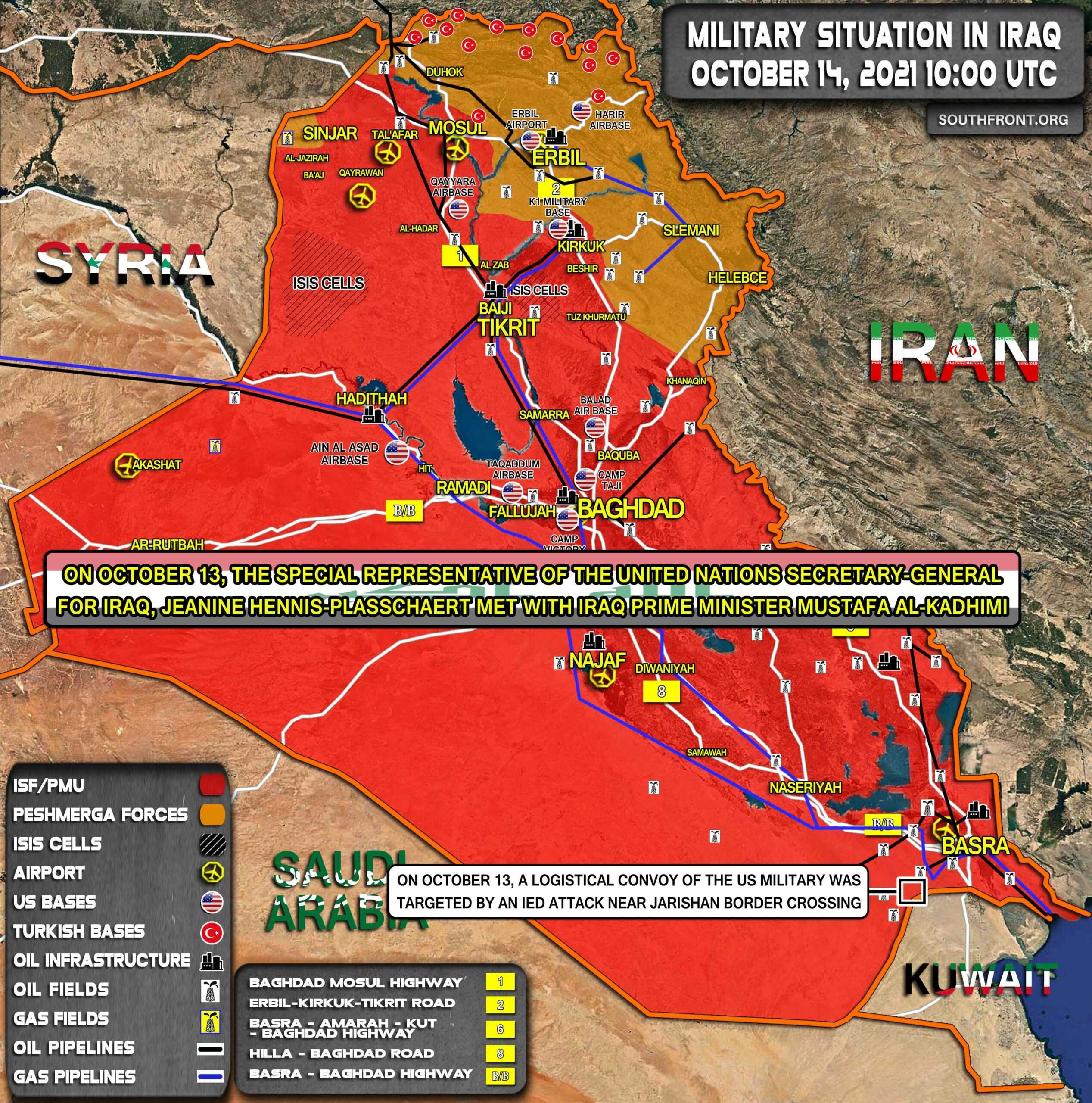 Military Situation In Iraq On October 14, 2021 (Map Update)