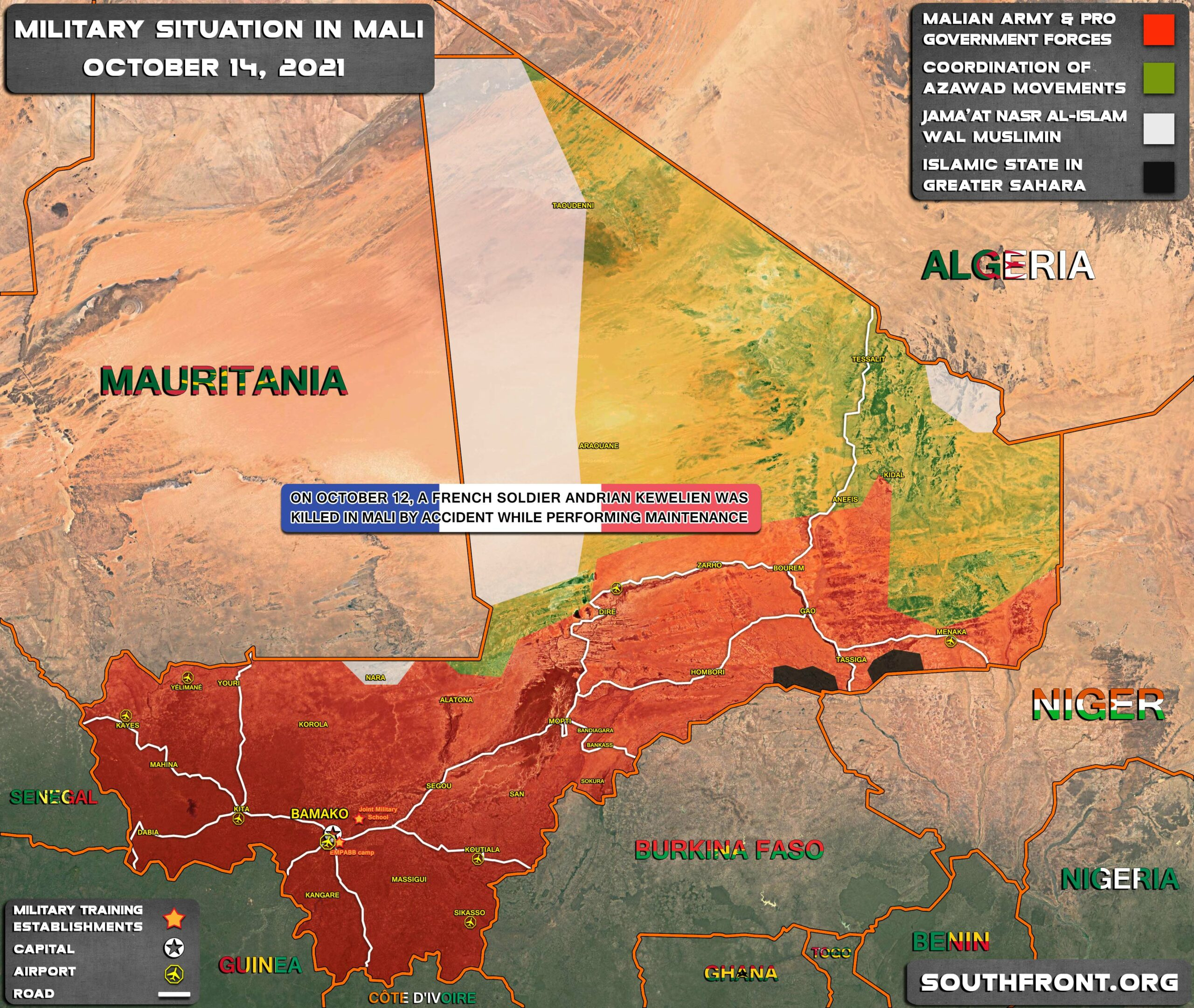 Military Situation In Mali On October 14, 2021 (Map Update)