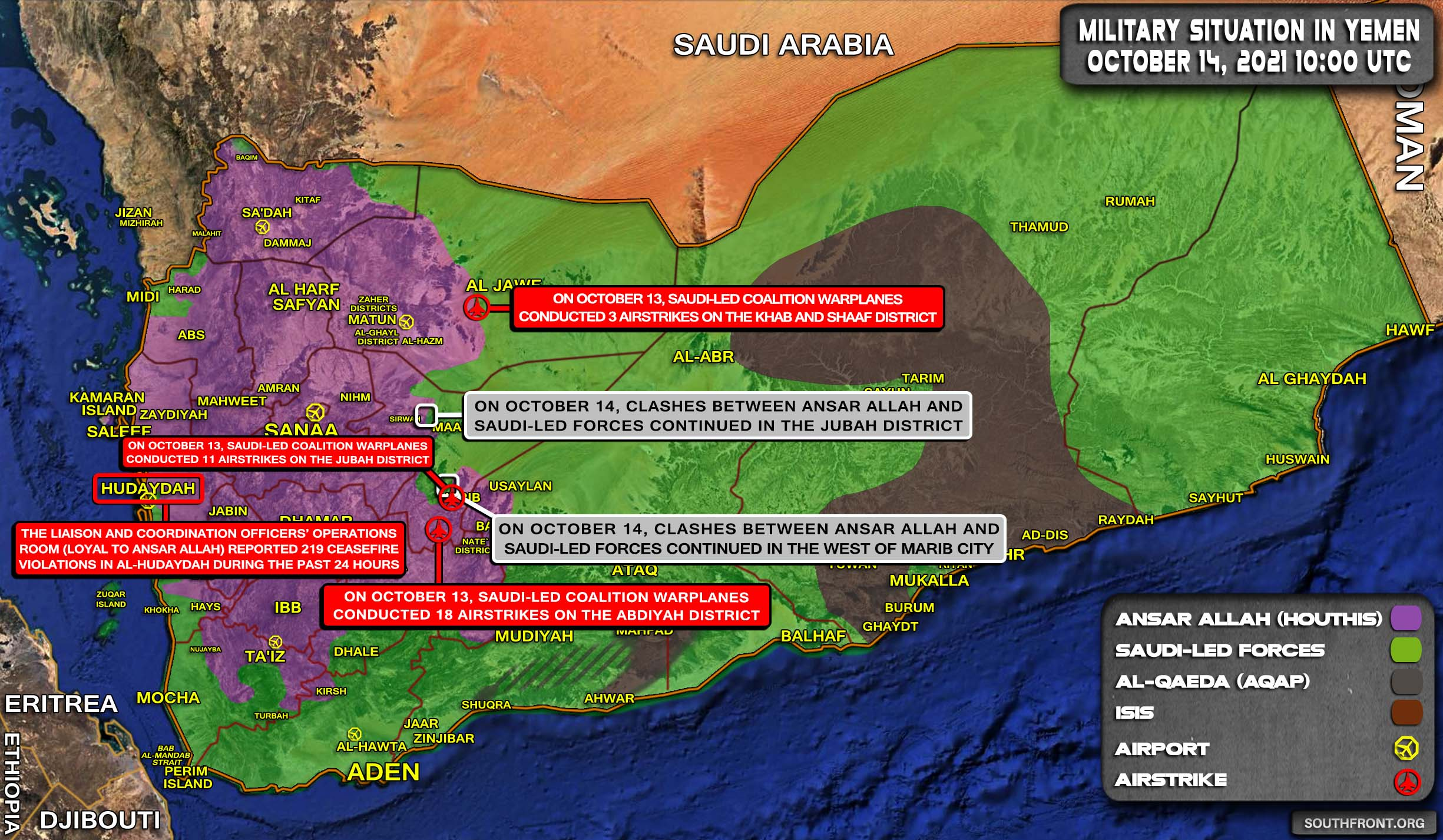 Military Situation In Yemen On October 14, 2021 (Map Update)