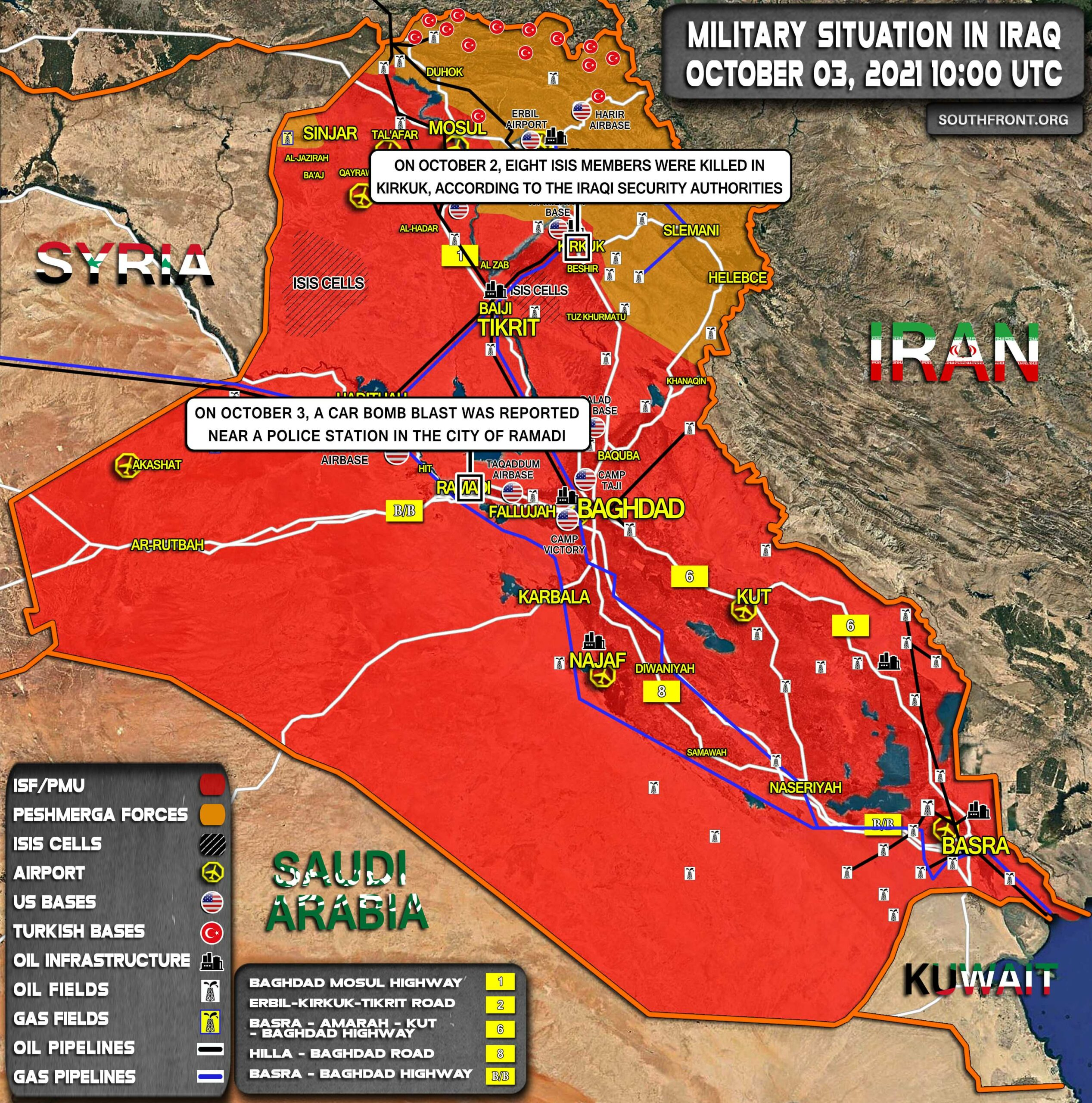 Military Situation In Iraq On October 3, 2021 (Map Update)