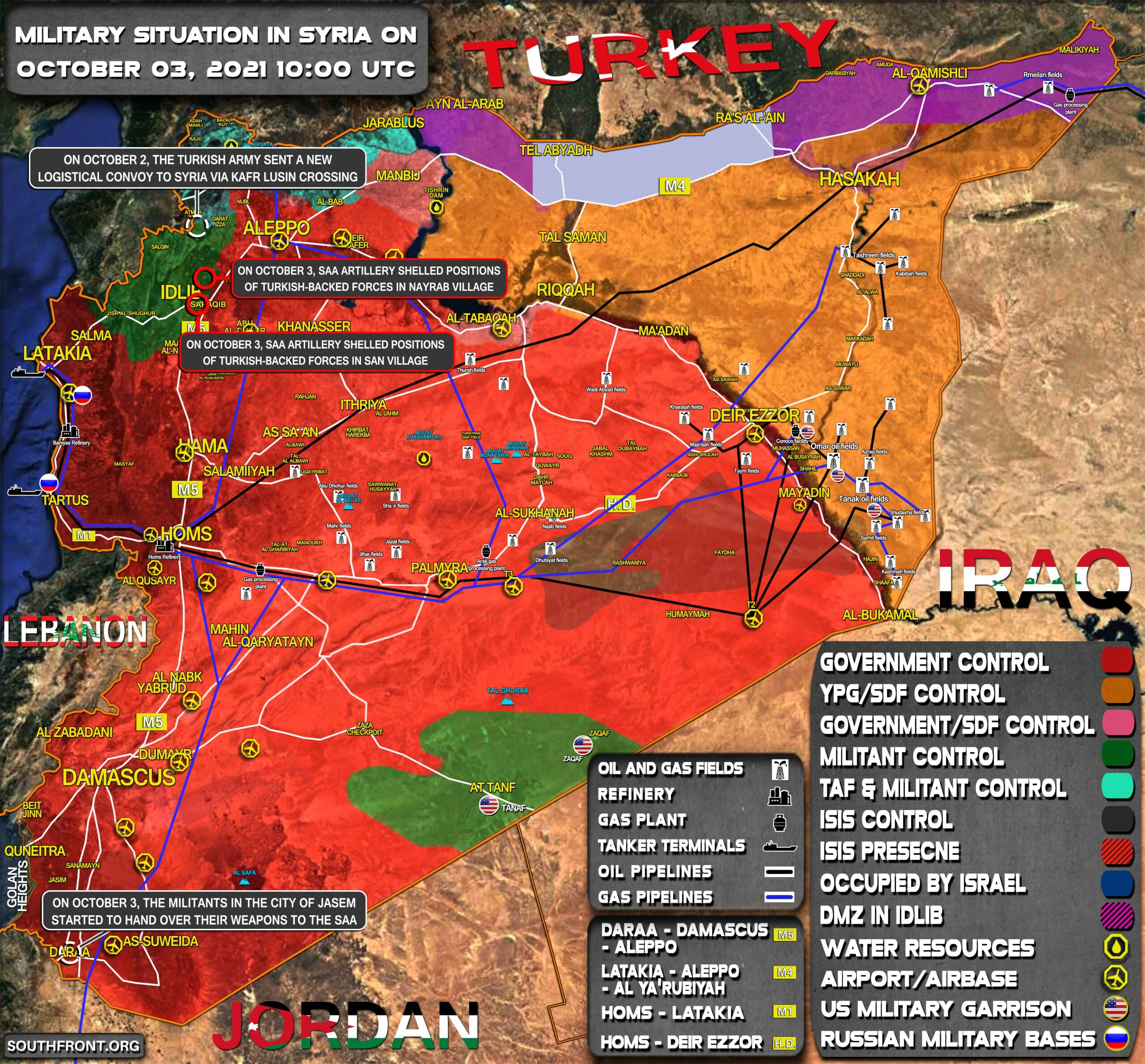 Military Situation In Syria On October 3, 2021 (Map Update)