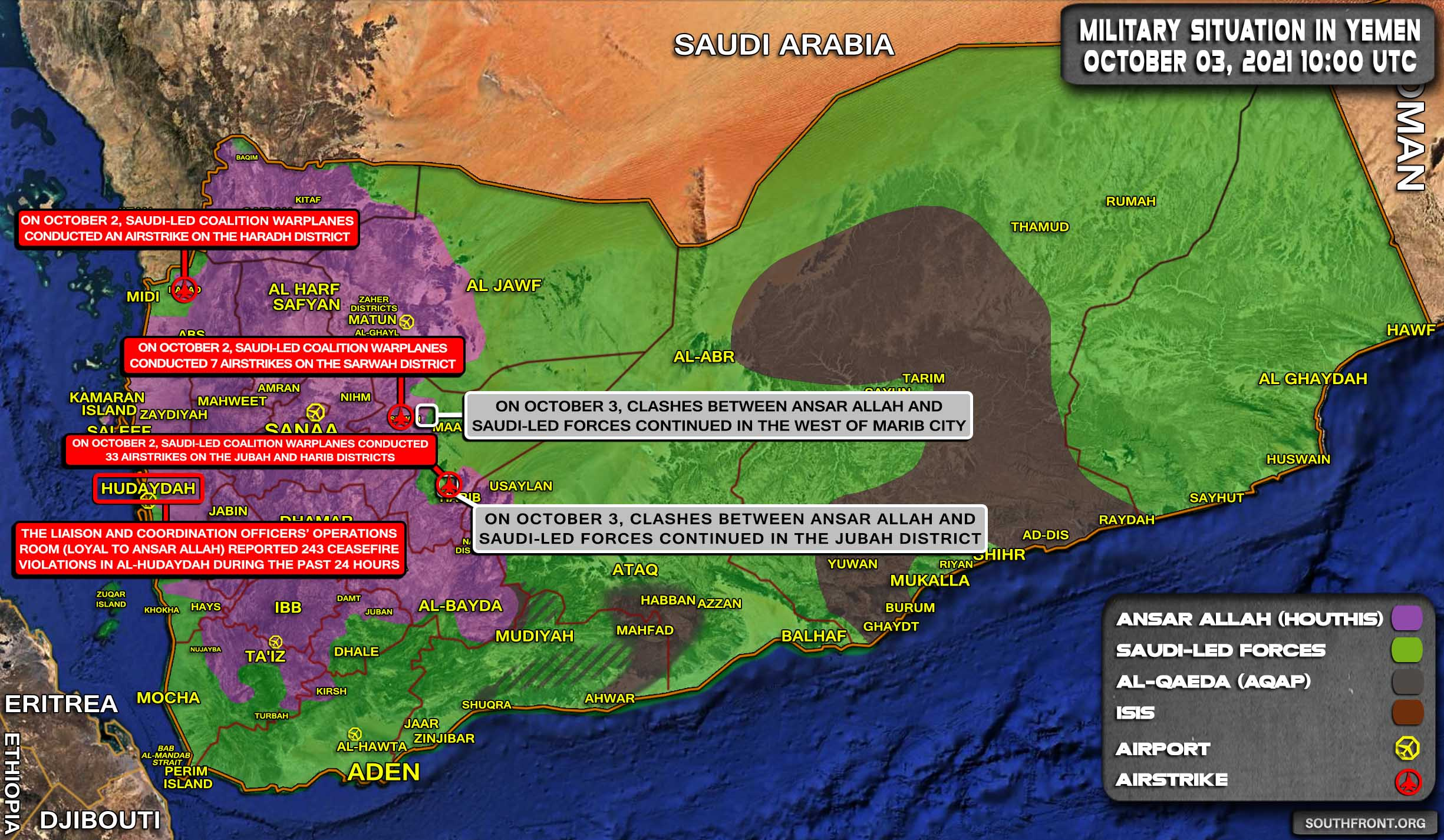 Military Situation In Yemen On October 3, 2021 (Map Update)