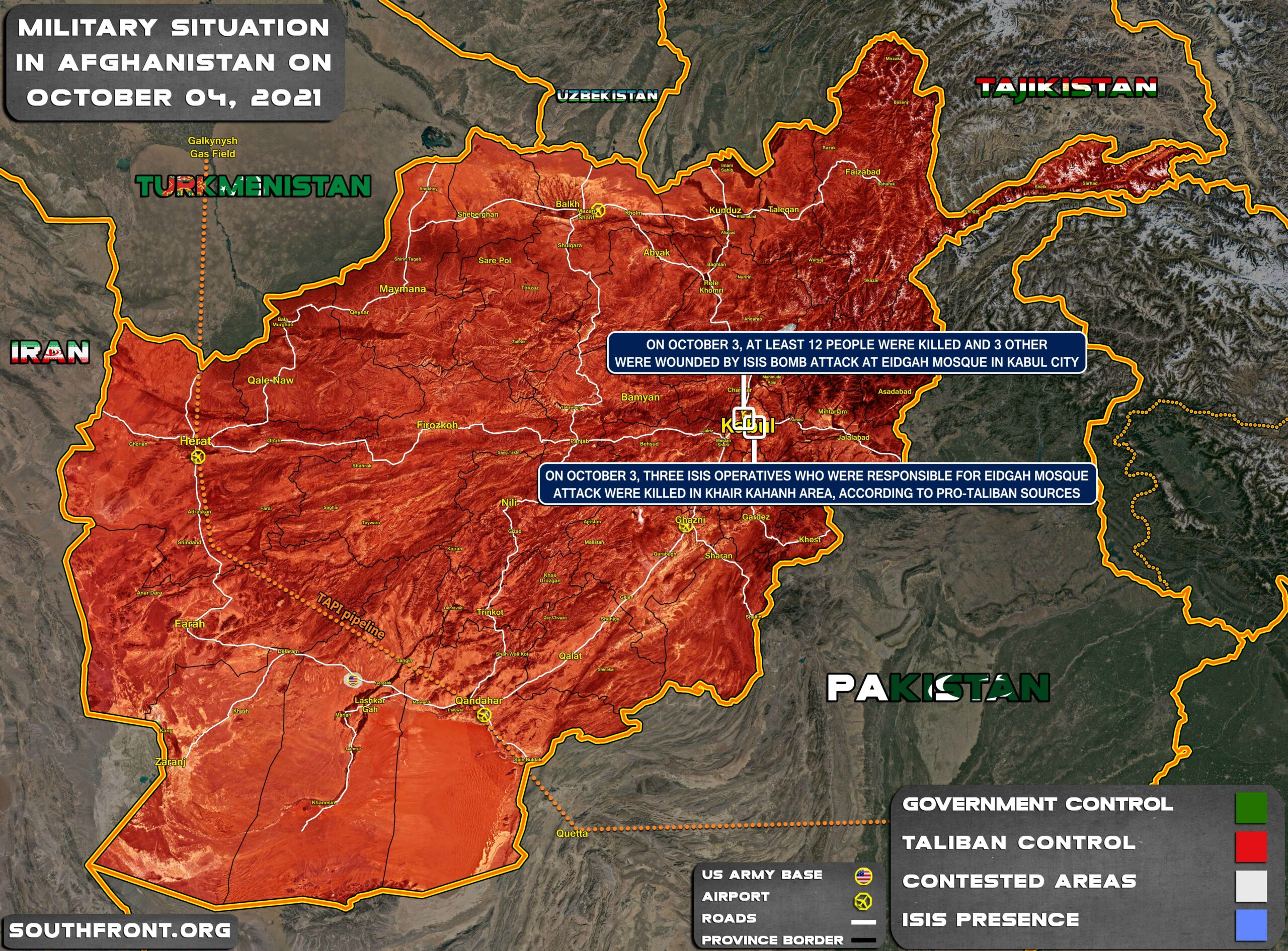 Military Situation In Afghanistan On October 4, 2021 (Map Update)