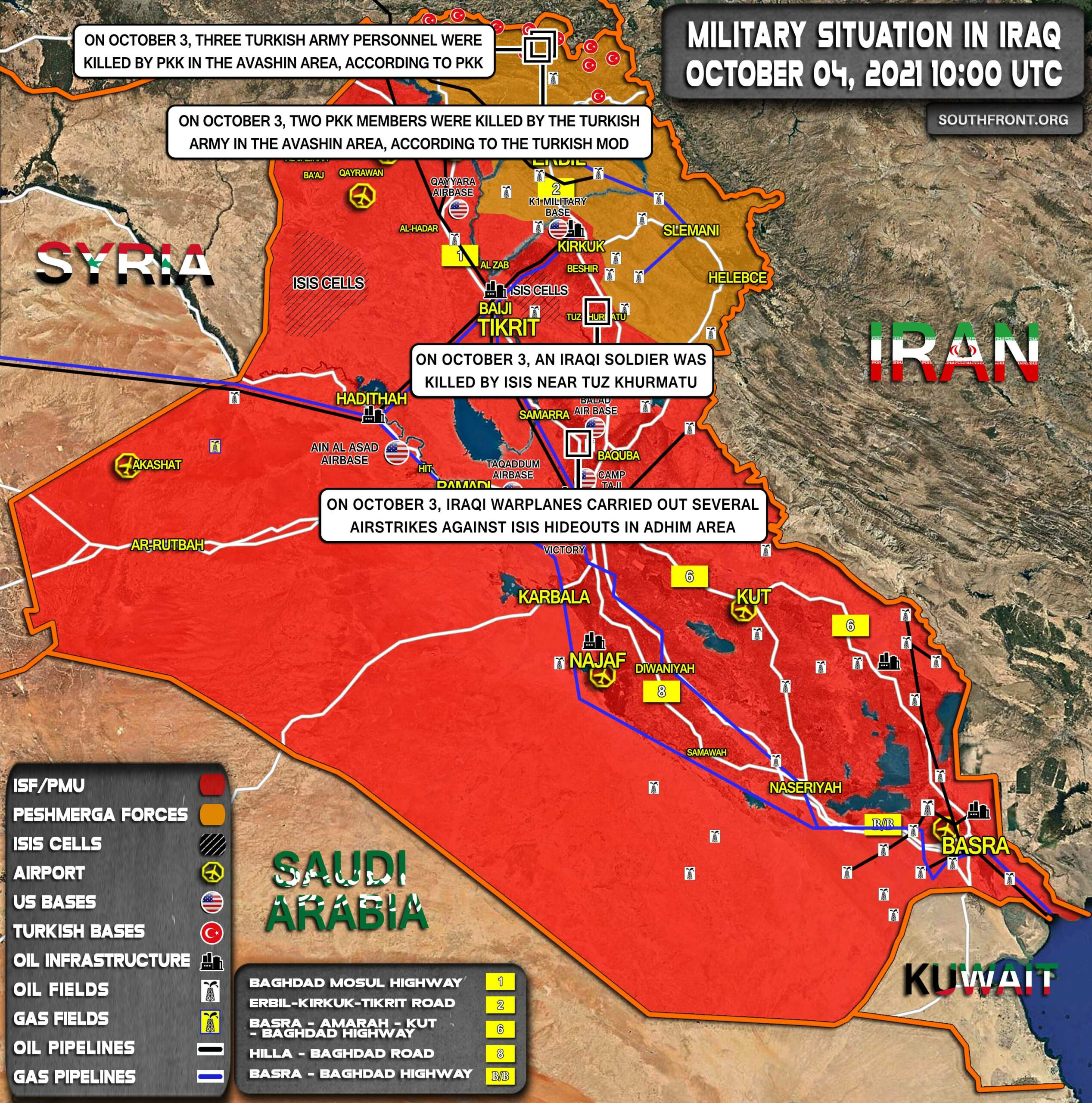 Military Situation In Iraq On October 4, 2021 (Map Update)