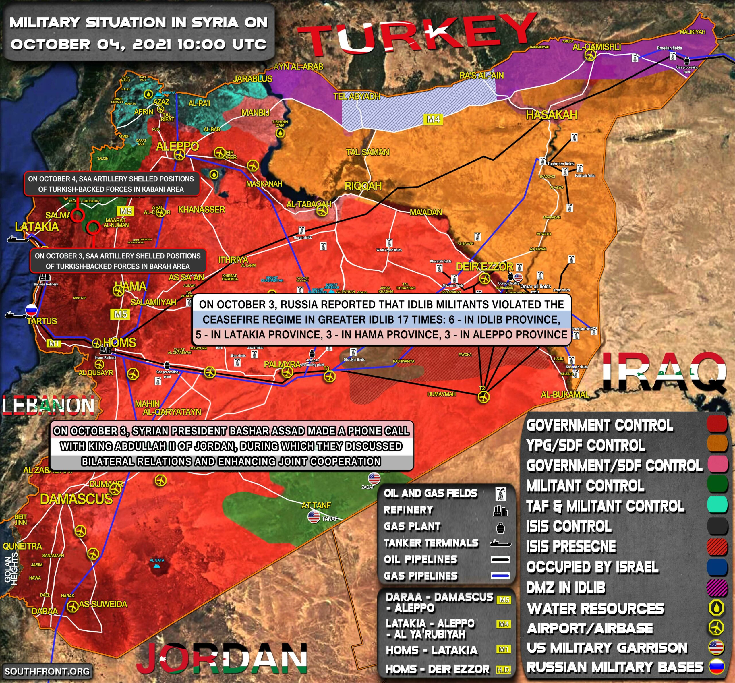 Military Situation In Syria On October 4, 2021 (Map Update)