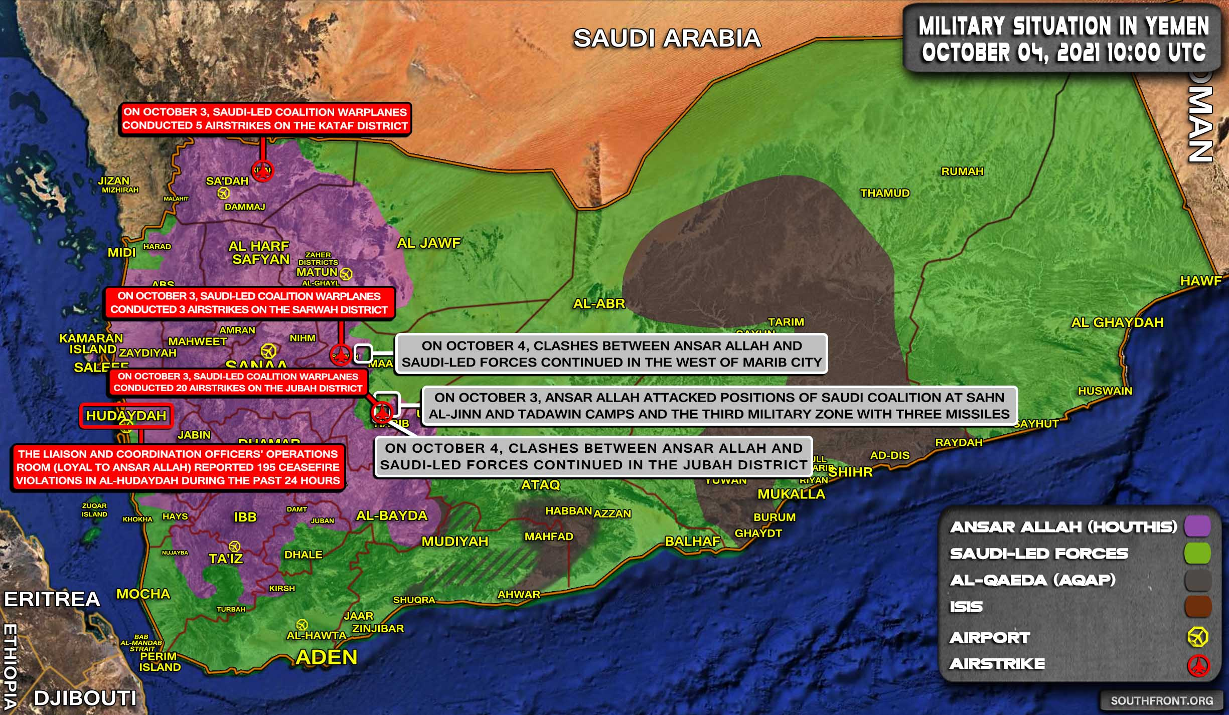 Military Situation In Yemen On October 4, 2021 (Map Update)