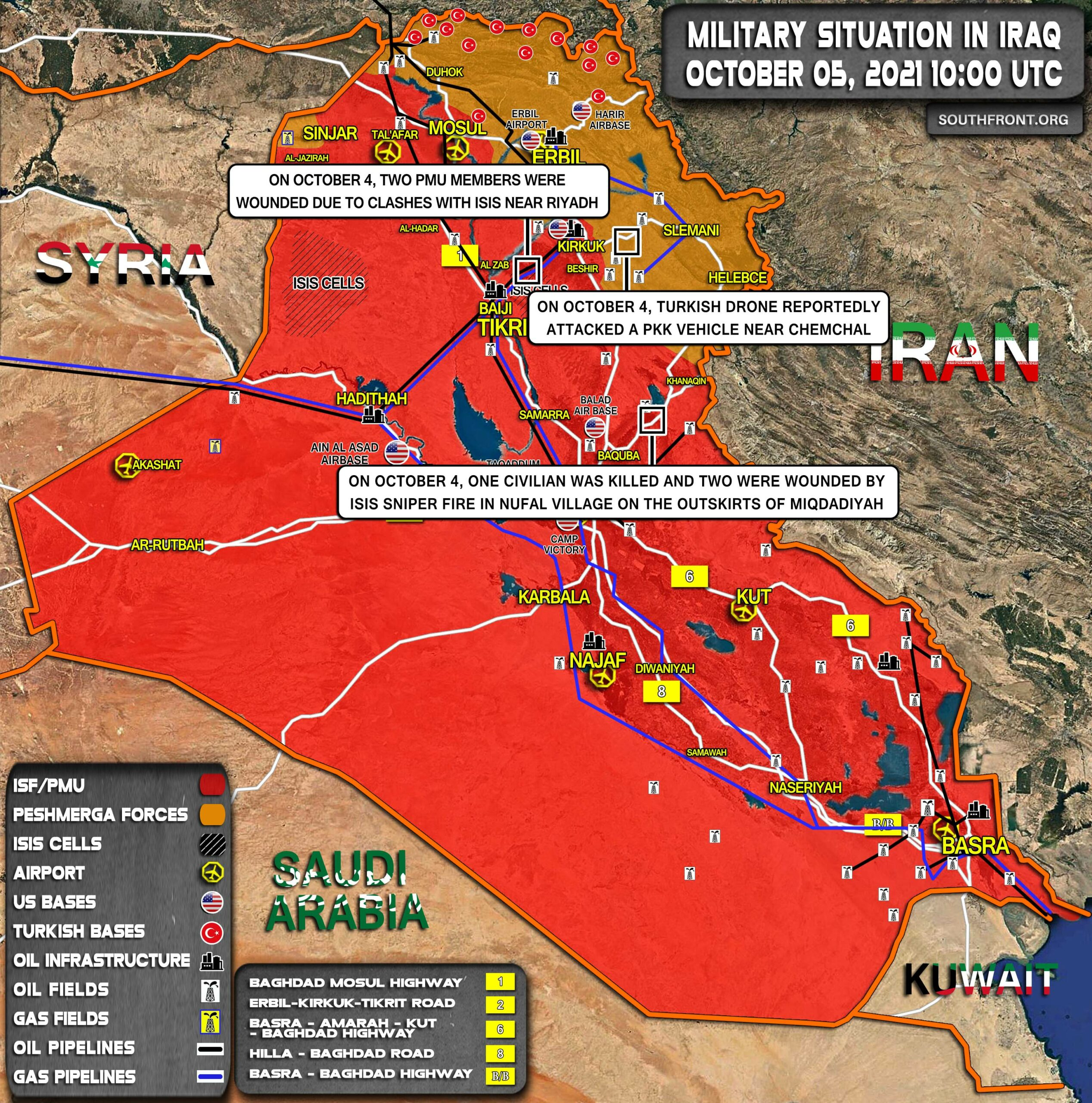 Military Situation In Iraq On October 5, 2021 (Map Update)
