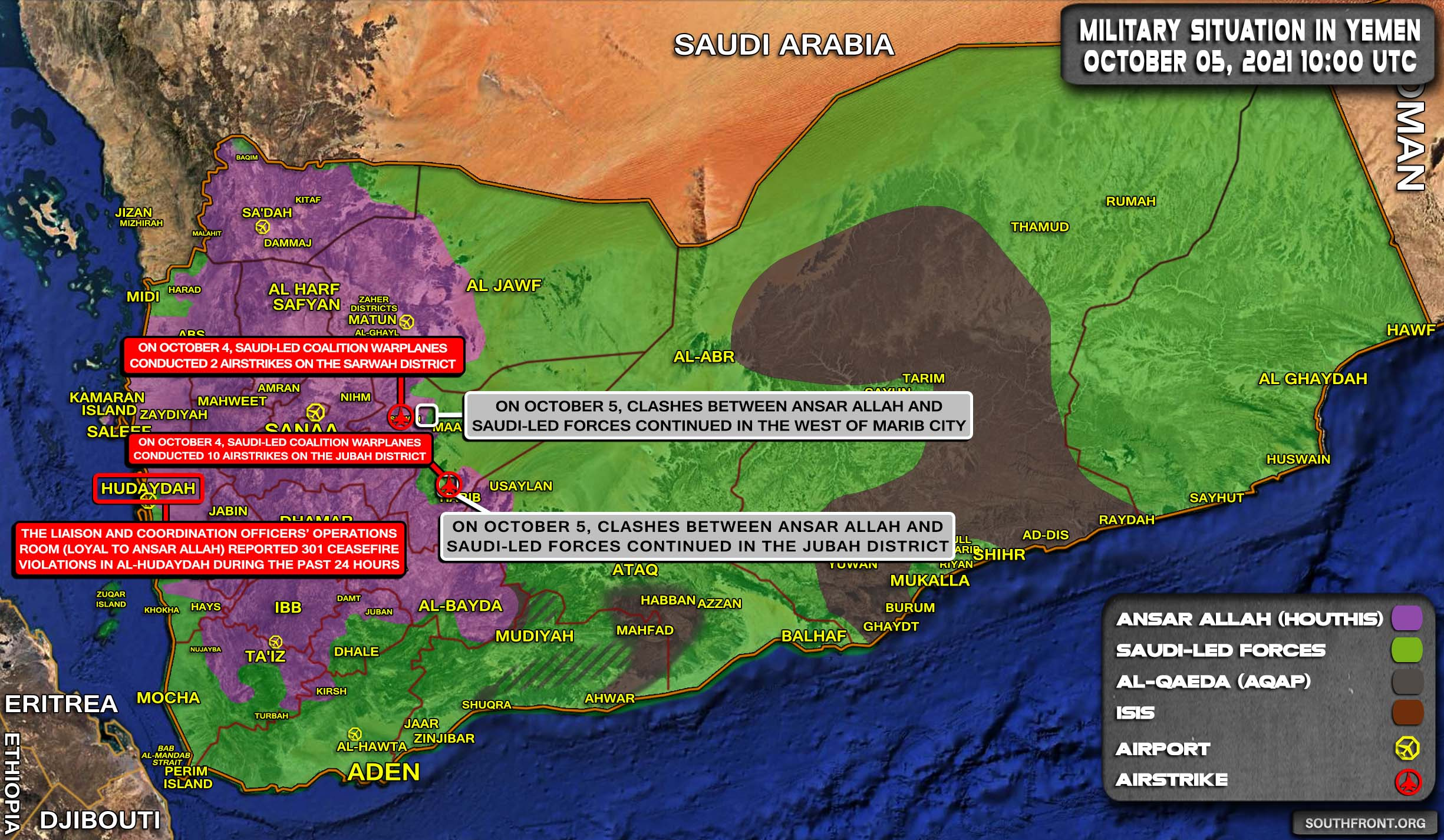 Military Situation In Yemen On October 5, 2021 (Map Update)