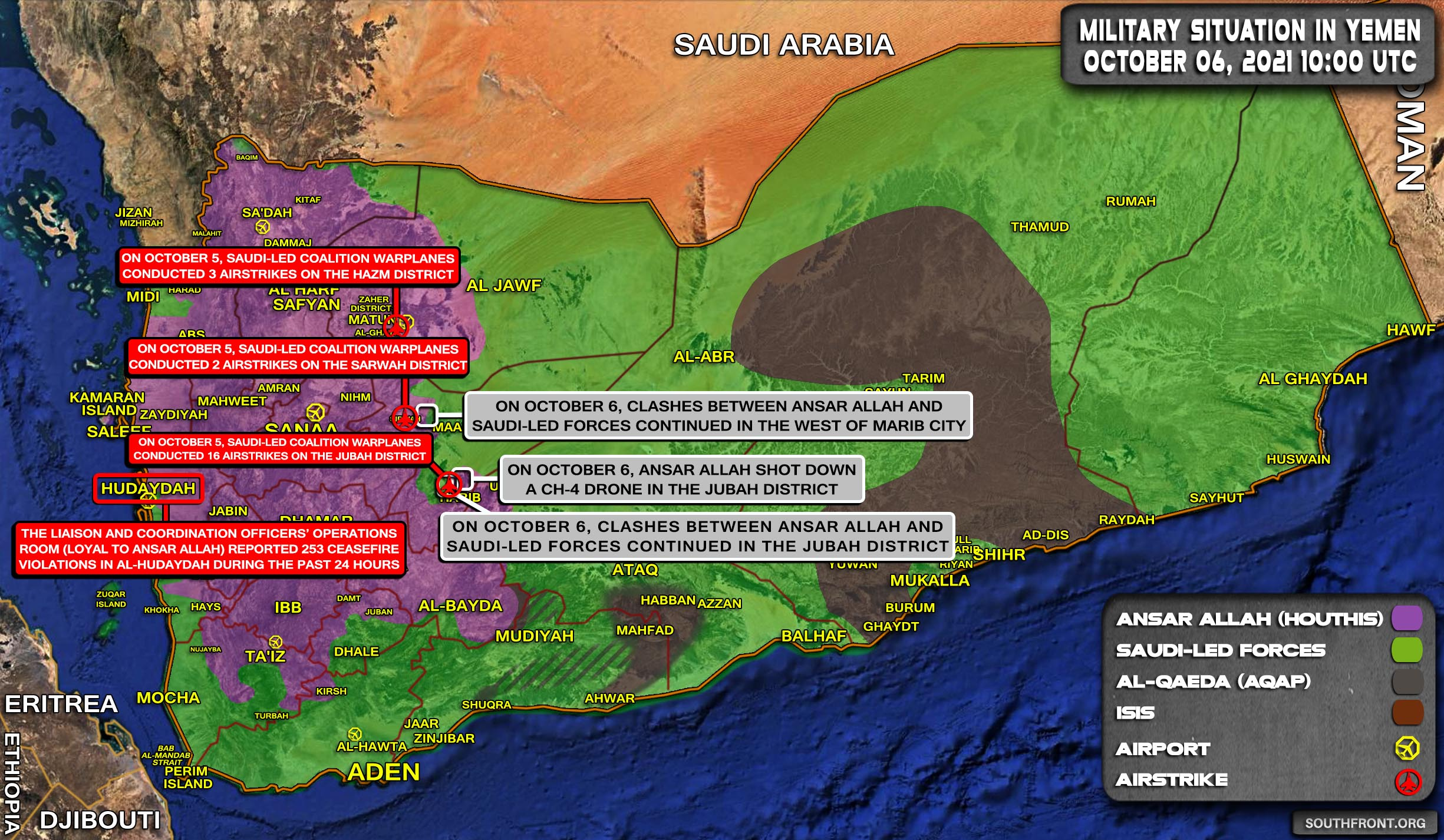 Military Situation In Yemen On October 6, 2021 (Map Update)