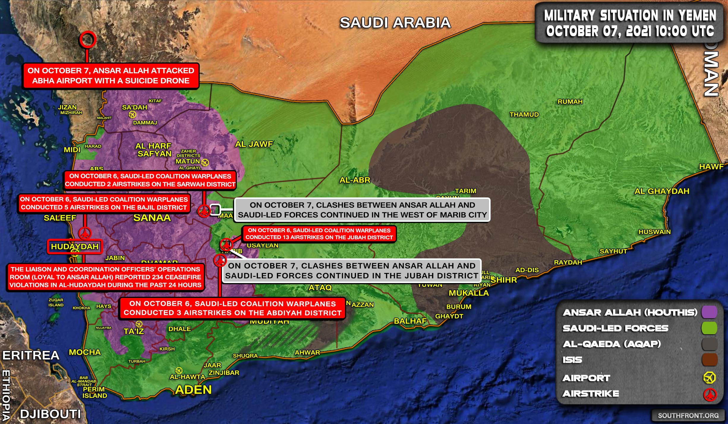 Military Situation In Yemen On October 7, 2021 (Map Update)