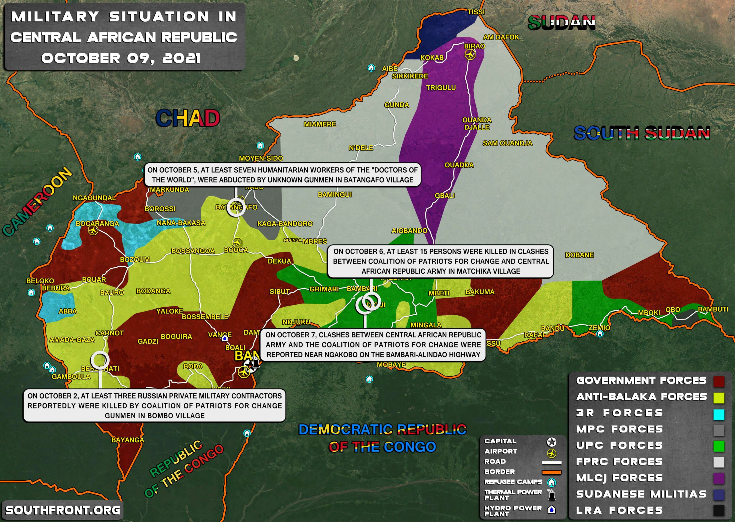 Military Situation In Central African Republic On October 9, 2021 (Map Update)